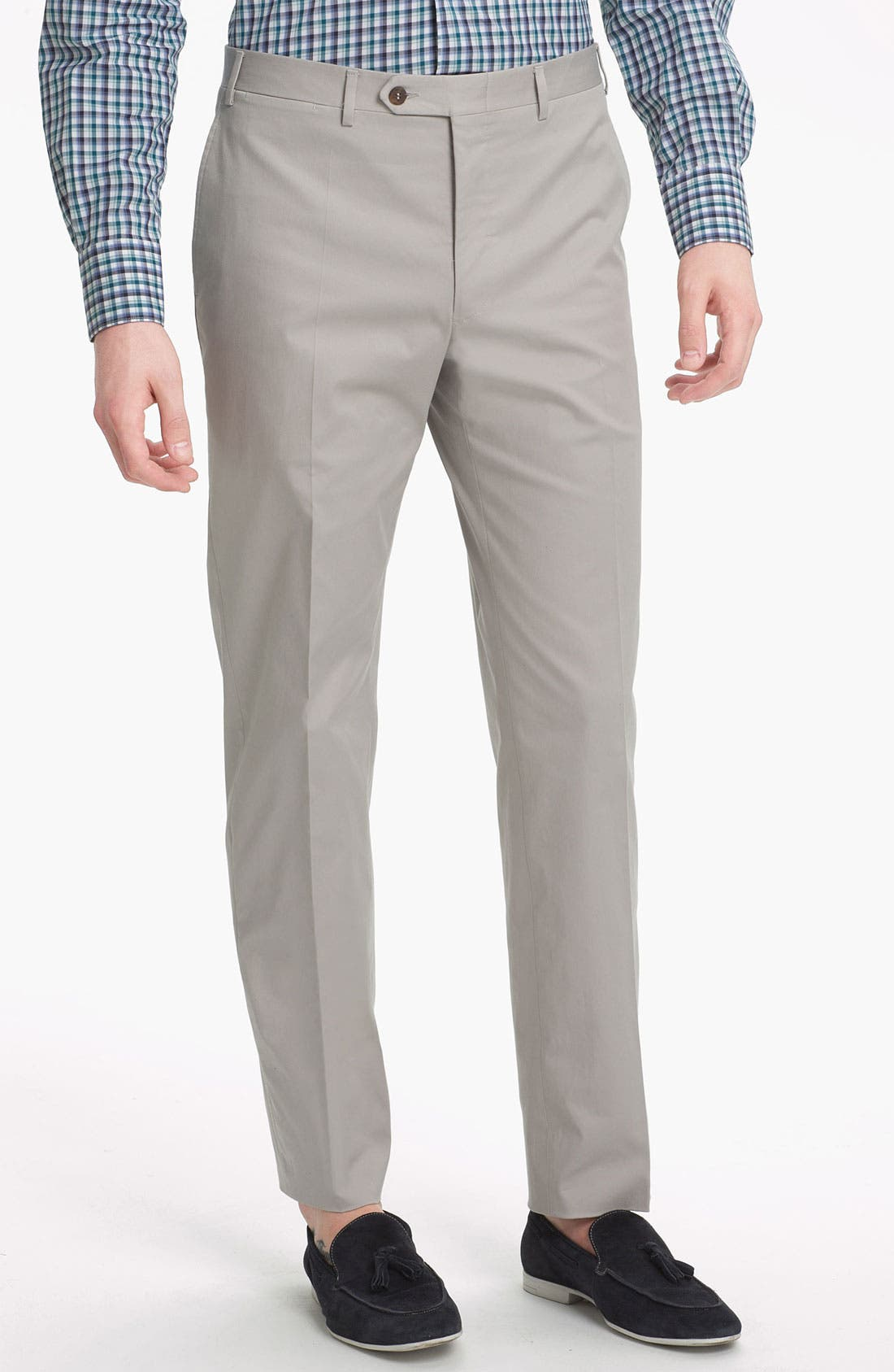 Alternate Image 1 Selected - Canali Flat Front Trousers