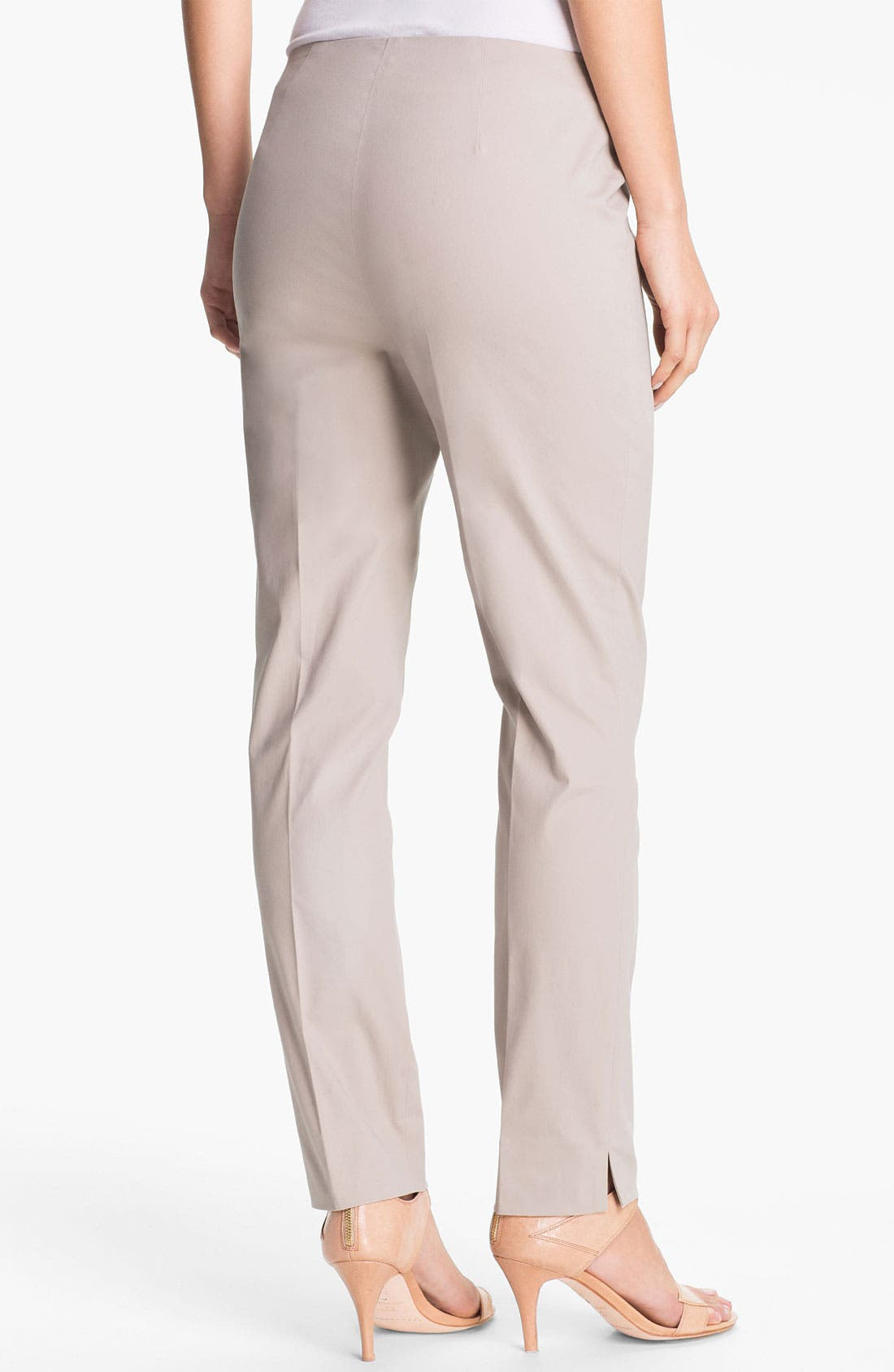 Alternate Image 2  - Lafayette 148 New York Casual Cotton Side Zip Ankle Pants (Regular & Petite)