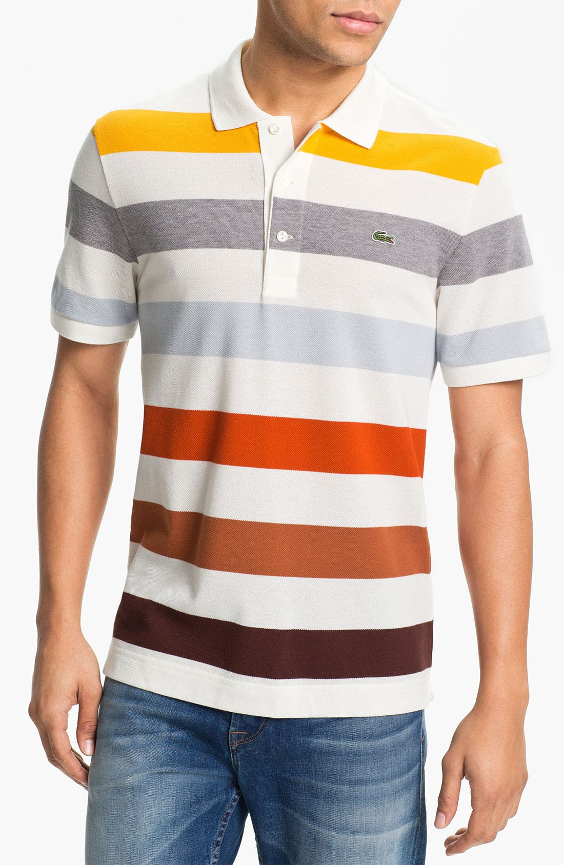 Main Image - Lacoste Bar Stripe Piqué Polo