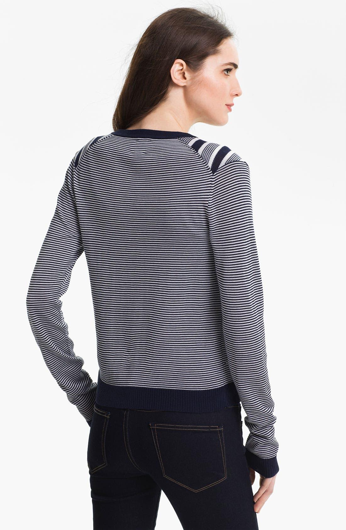 Alternate Image 2  - Anne Klein Three Quarter Sleeve Stripe Cardigan