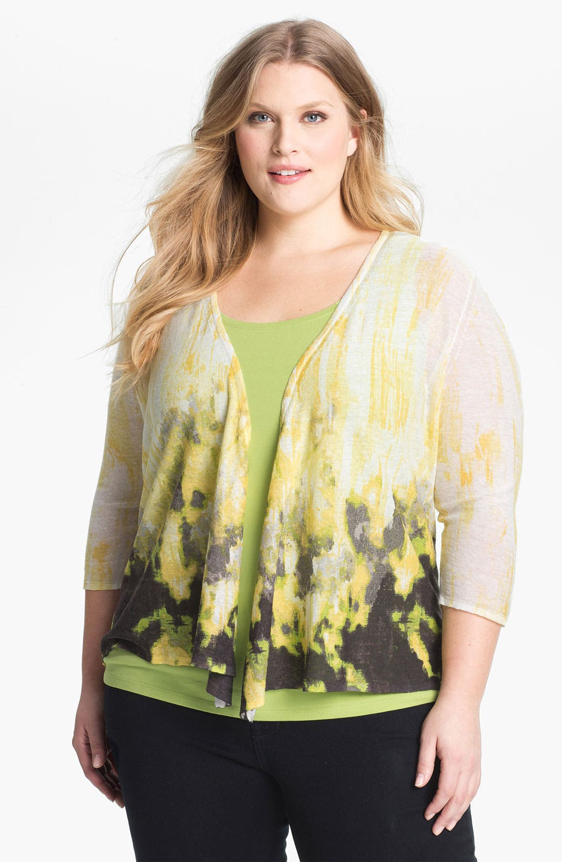 Alternate Image 1 Selected - Nic + Zoe 'Four Way' Print Cardigan (Plus Size)