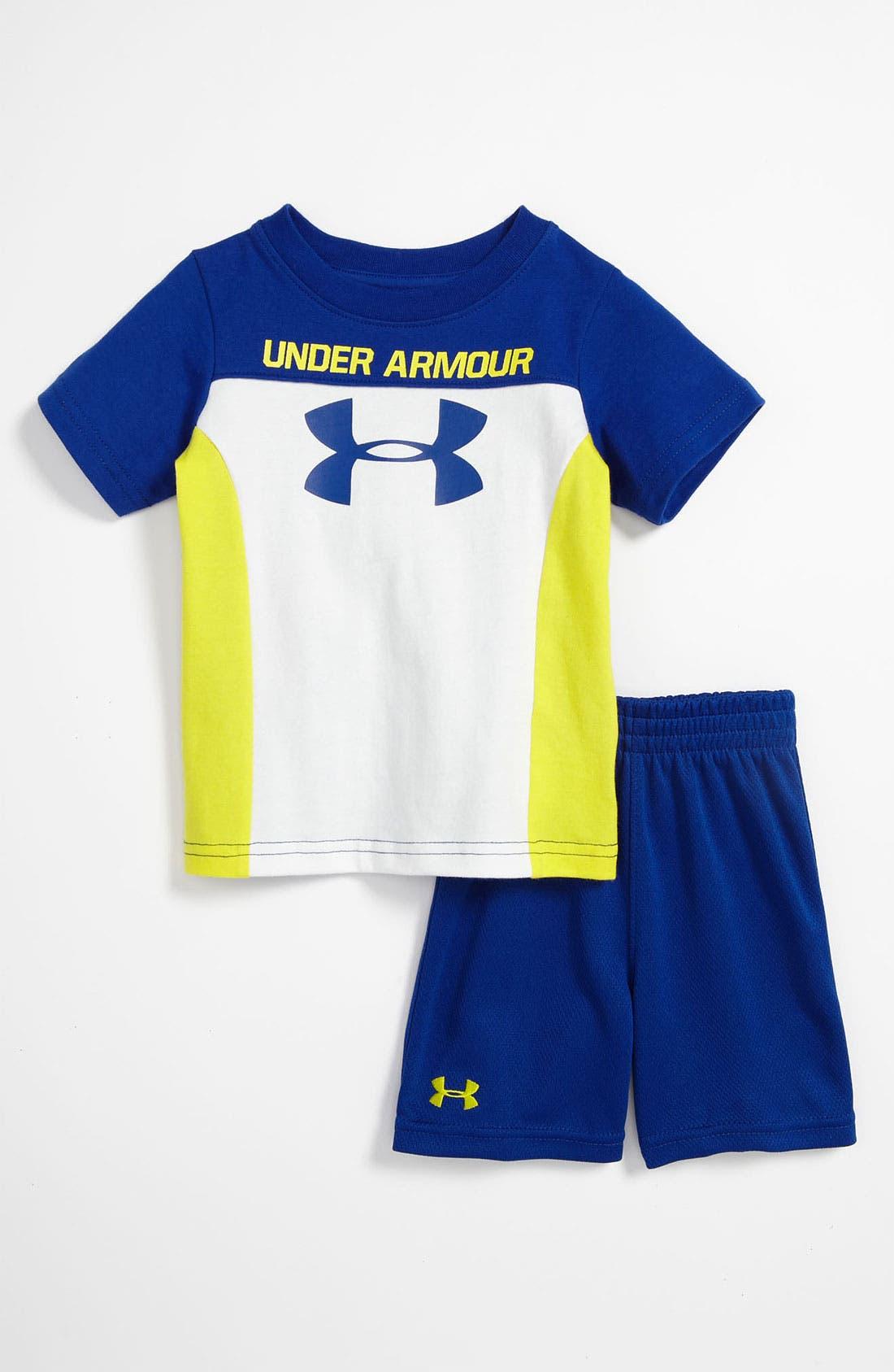 Main Image - Under Armour 'Mixed Media' T-Shirt & Shorts (Infant)