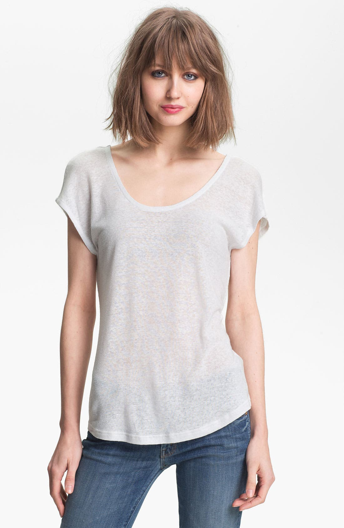 Main Image - Trouvé Double Scoop Linen-Blend Tee