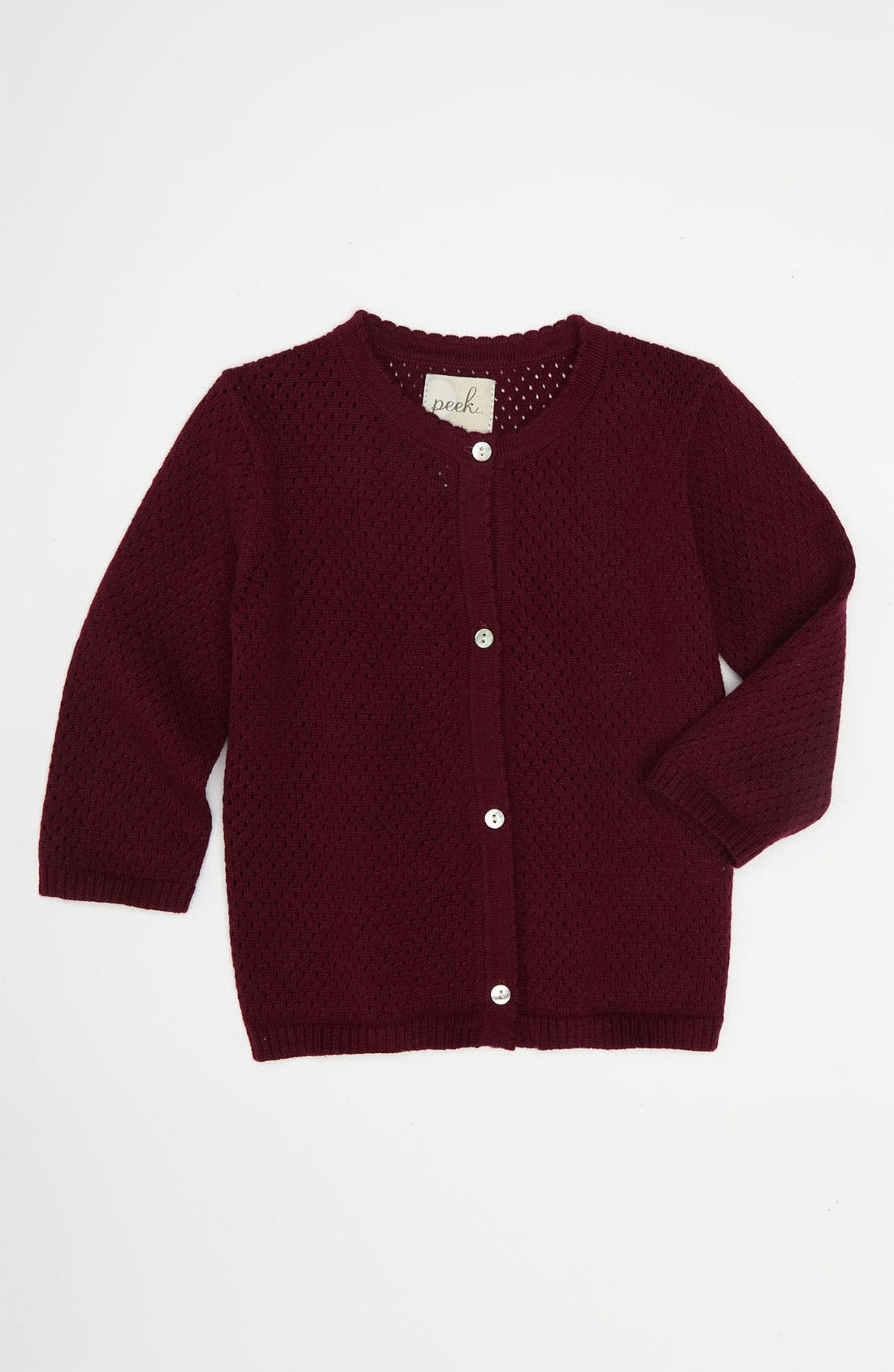 Main Image - Peek 'Plum' Cardigan (Infant)