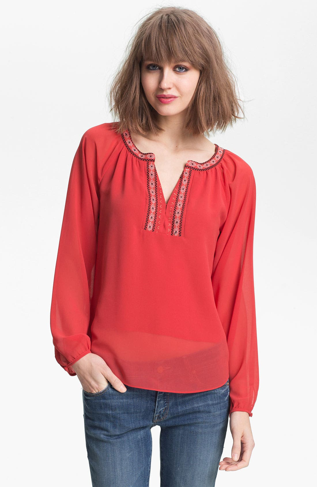 Main Image - Sanctuary Embroidered Peasant Blouse