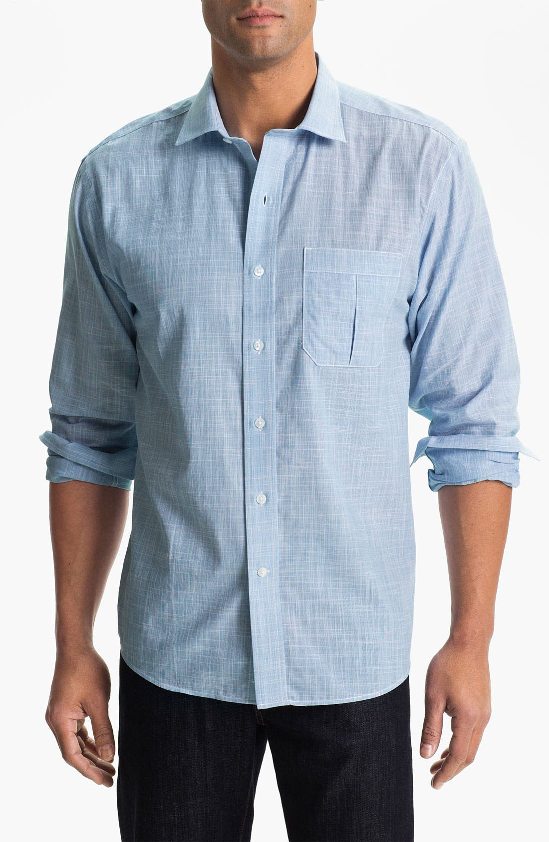 Main Image - Cutter & Buck 'Blue Ridge Solid' Regular Fit Sport Shirt (Online Only)