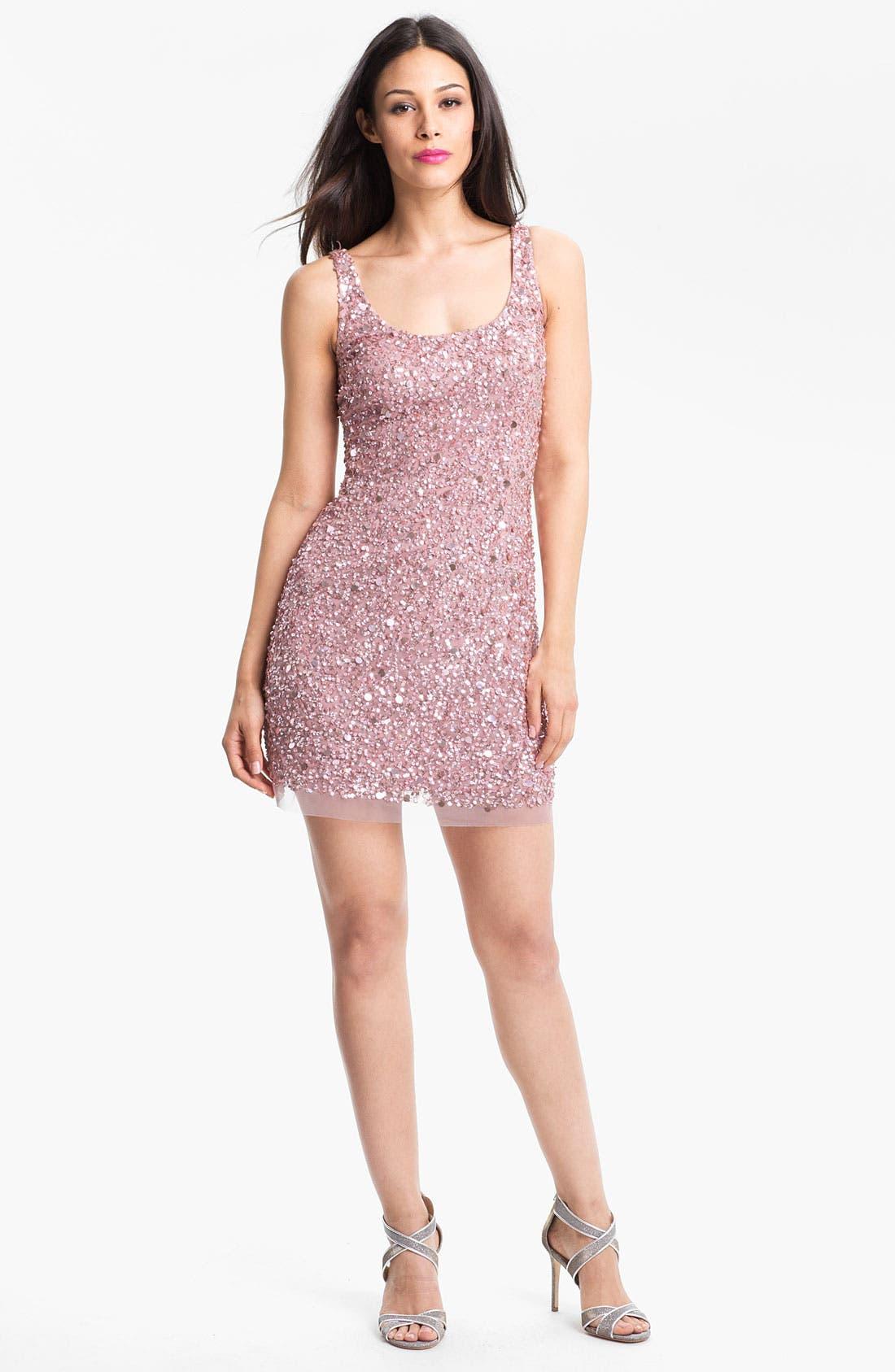Alternate Image 1 Selected - Adrianna Papell Sequin Mesh Minidress