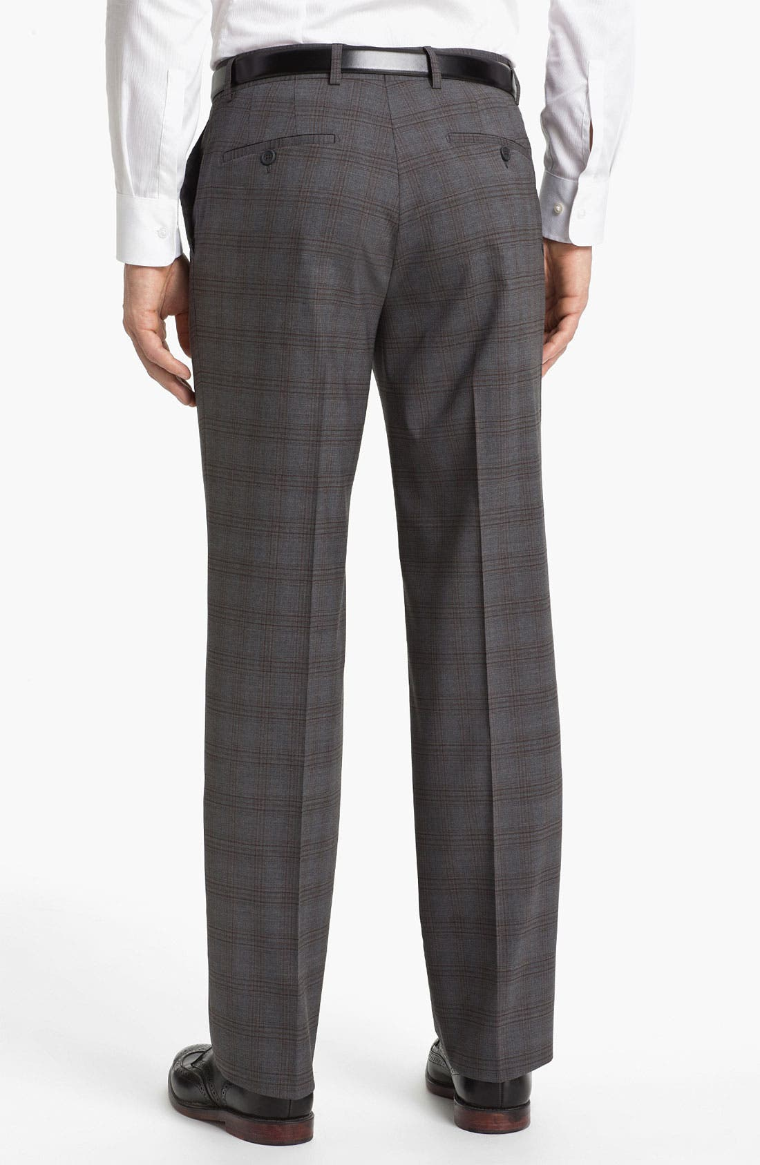 Alternate Image 2  - Linea Naturale 'Hammertime Plaid' Flat Front Wool Trousers