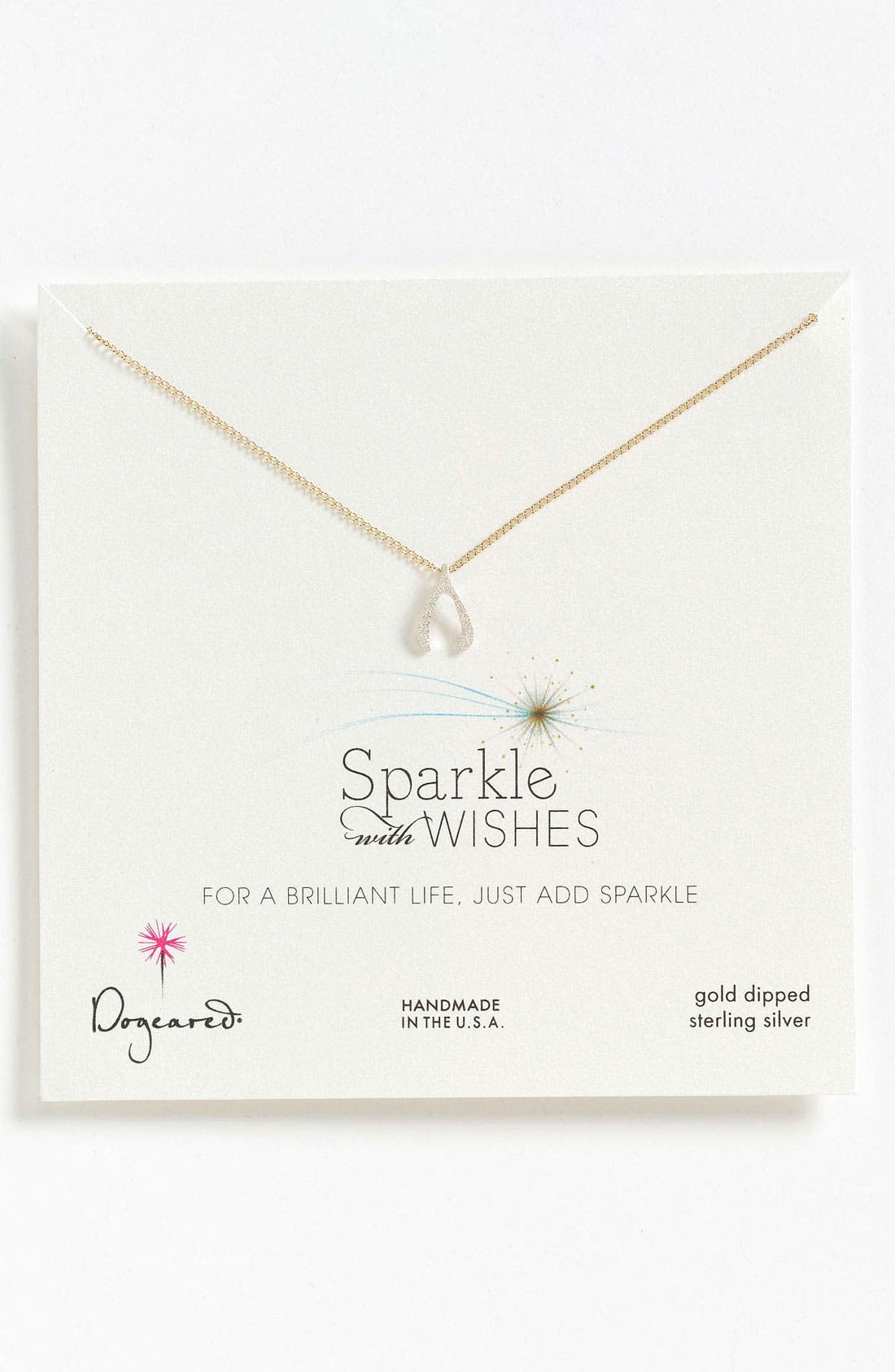 Alternate Image 1 Selected - Dogeared 'Sparkle like a Star' Wishbone Pendant Necklace