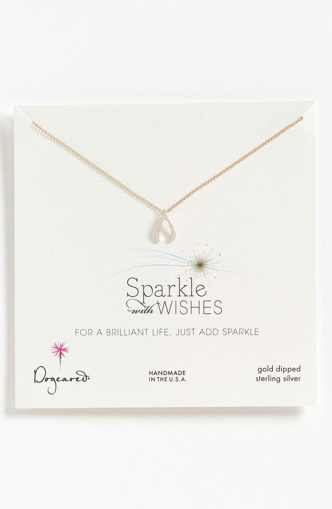Main Image - Dogeared 'Sparkle like a Star' Wishbone Pendant Necklace