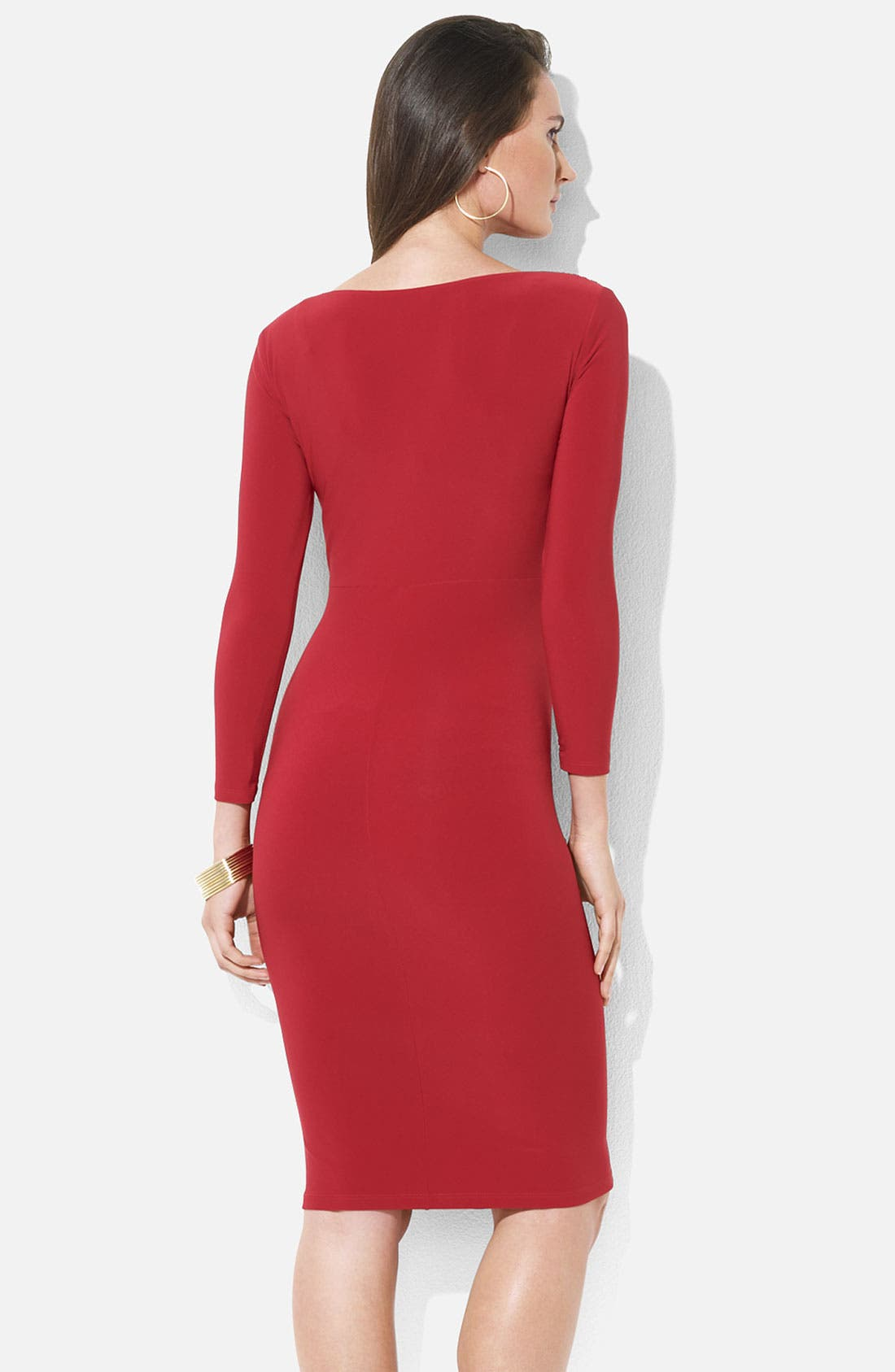 Alternate Image 2  - Lauren Ralph Lauren Ruched Surplice Jersey Sheath Dress (Petite)