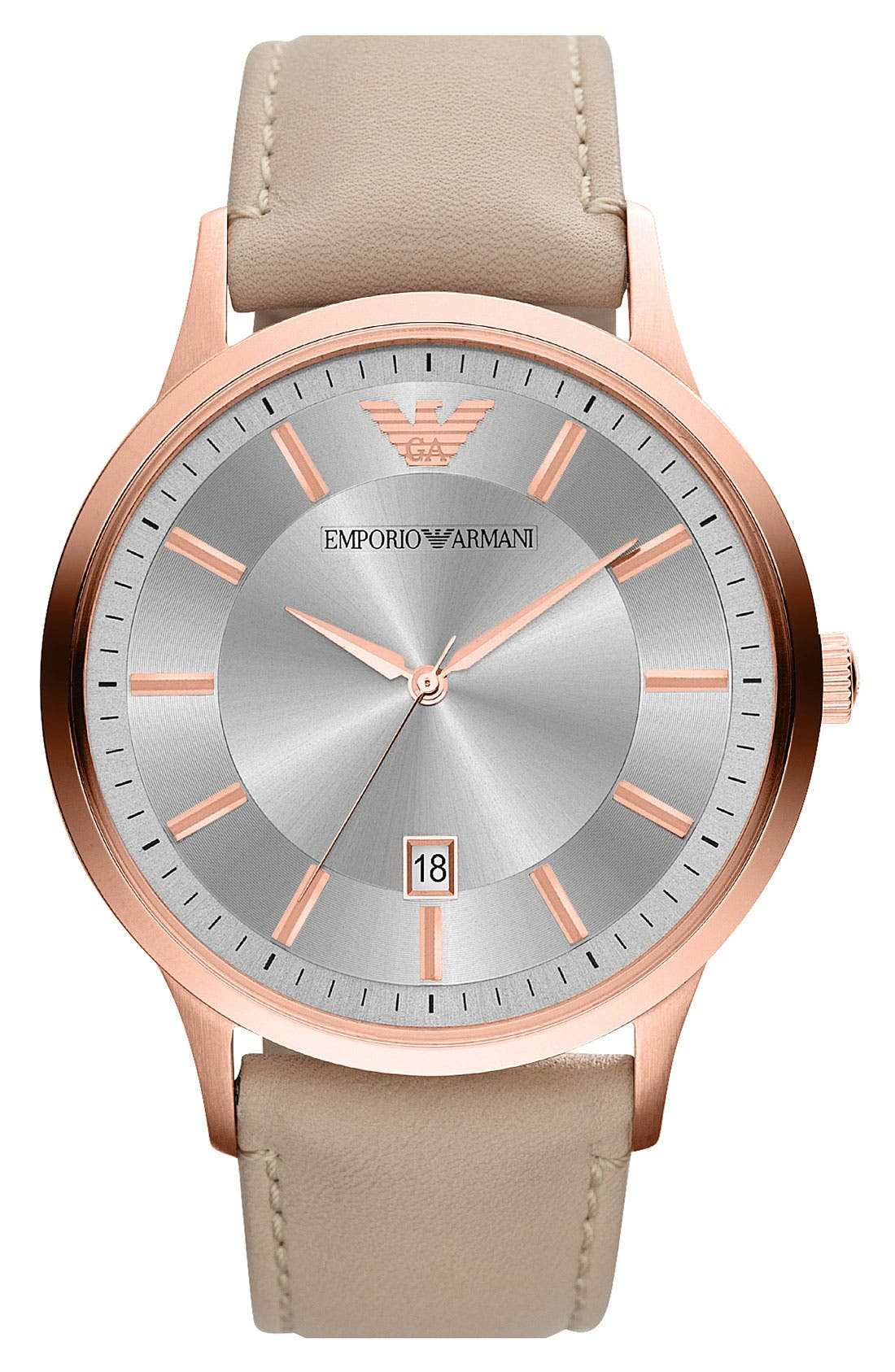 Main Image - Emporio Armani Round Leather Strap Watch, 43mm