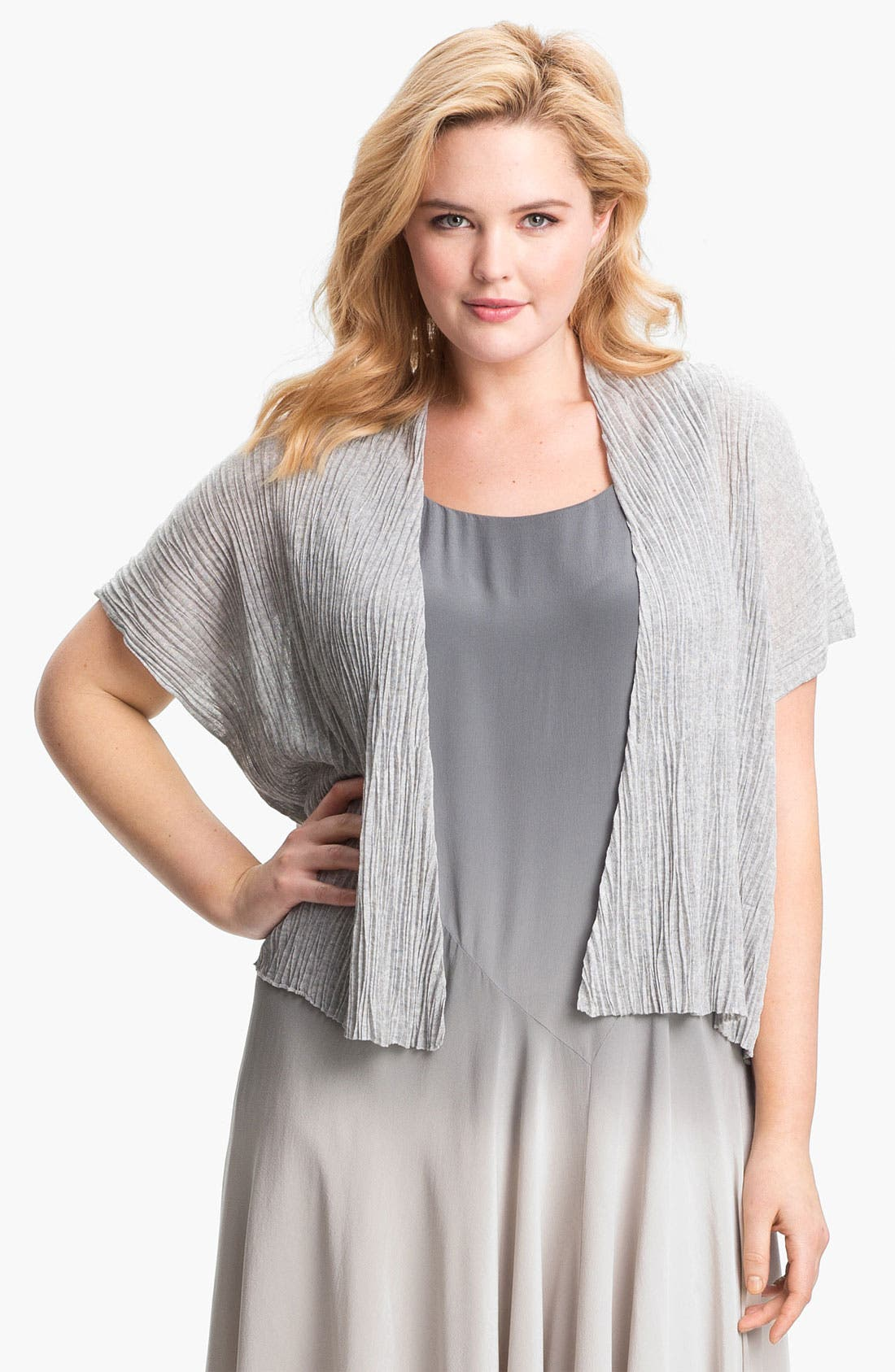Alternate Image 1 Selected - Eileen Fisher Textured Crop Cardigan (Plus)