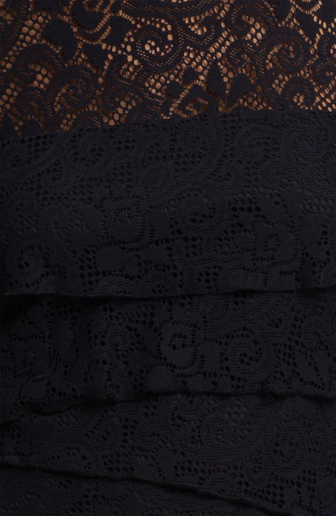 Alternate Image 3  - Laundry by Shelli Segal Illusion Yoke Tiered Lace Dress (Petite)