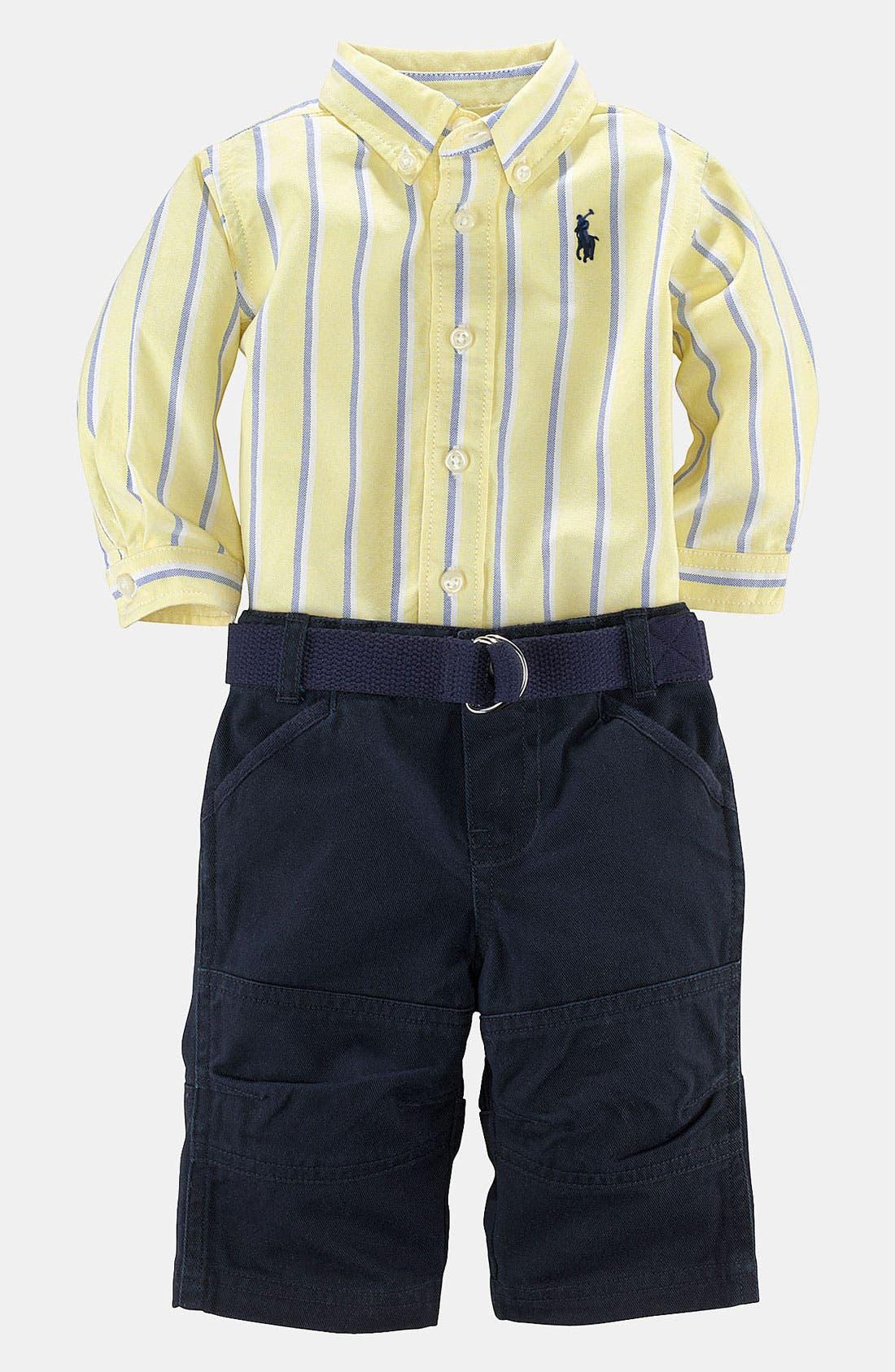 Alternate Image 2  - Ralph Lauren Stripe Shirt & Pants (Baby)