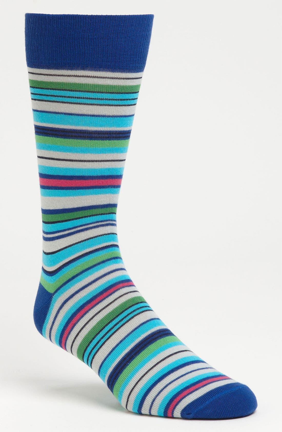 Main Image - Lorenzo Uomo Multi Stripe Socks