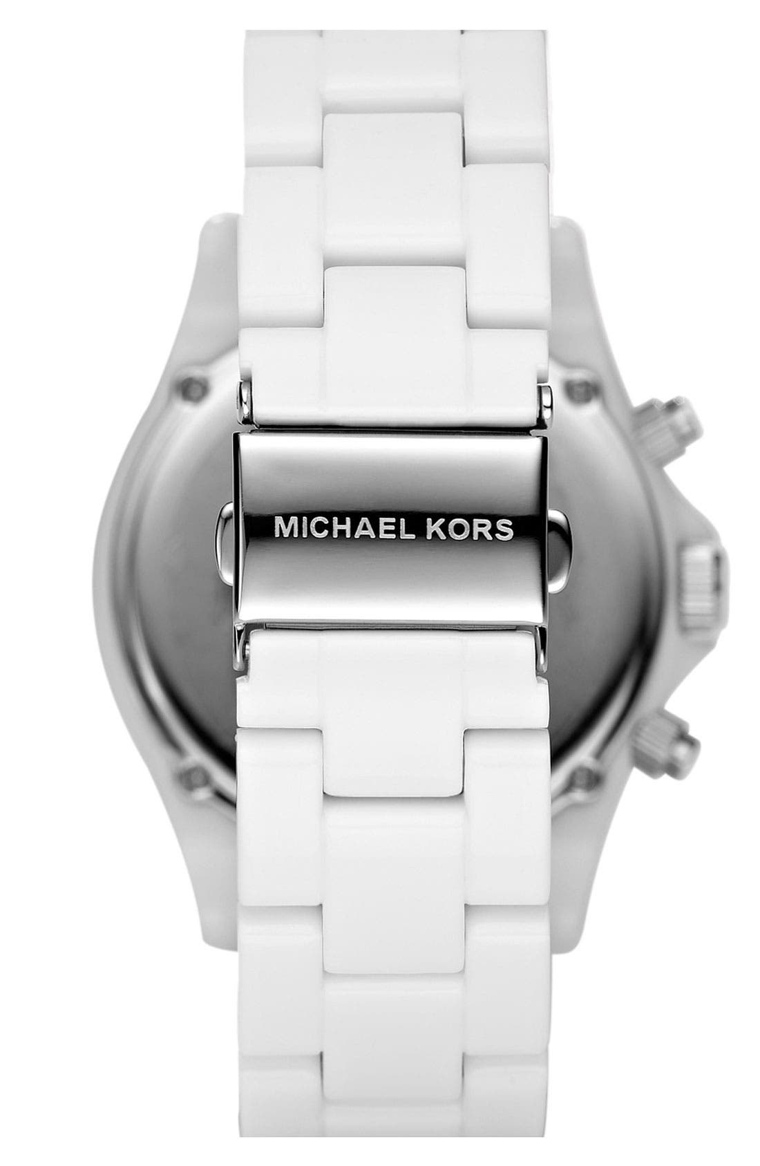 Michael Kors 'Madison' Twin Row Crystal Chronograph Watch, 42mm,                             Alternate thumbnail 2, color,                             Silver/ White