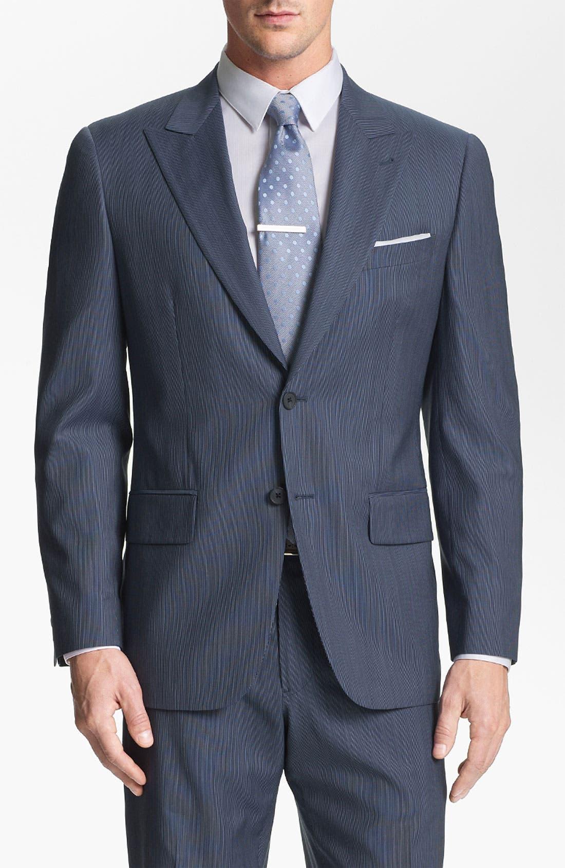 Main Image - Joseph Abboud 'Profile' Trim Fit Stripe Wool Suit
