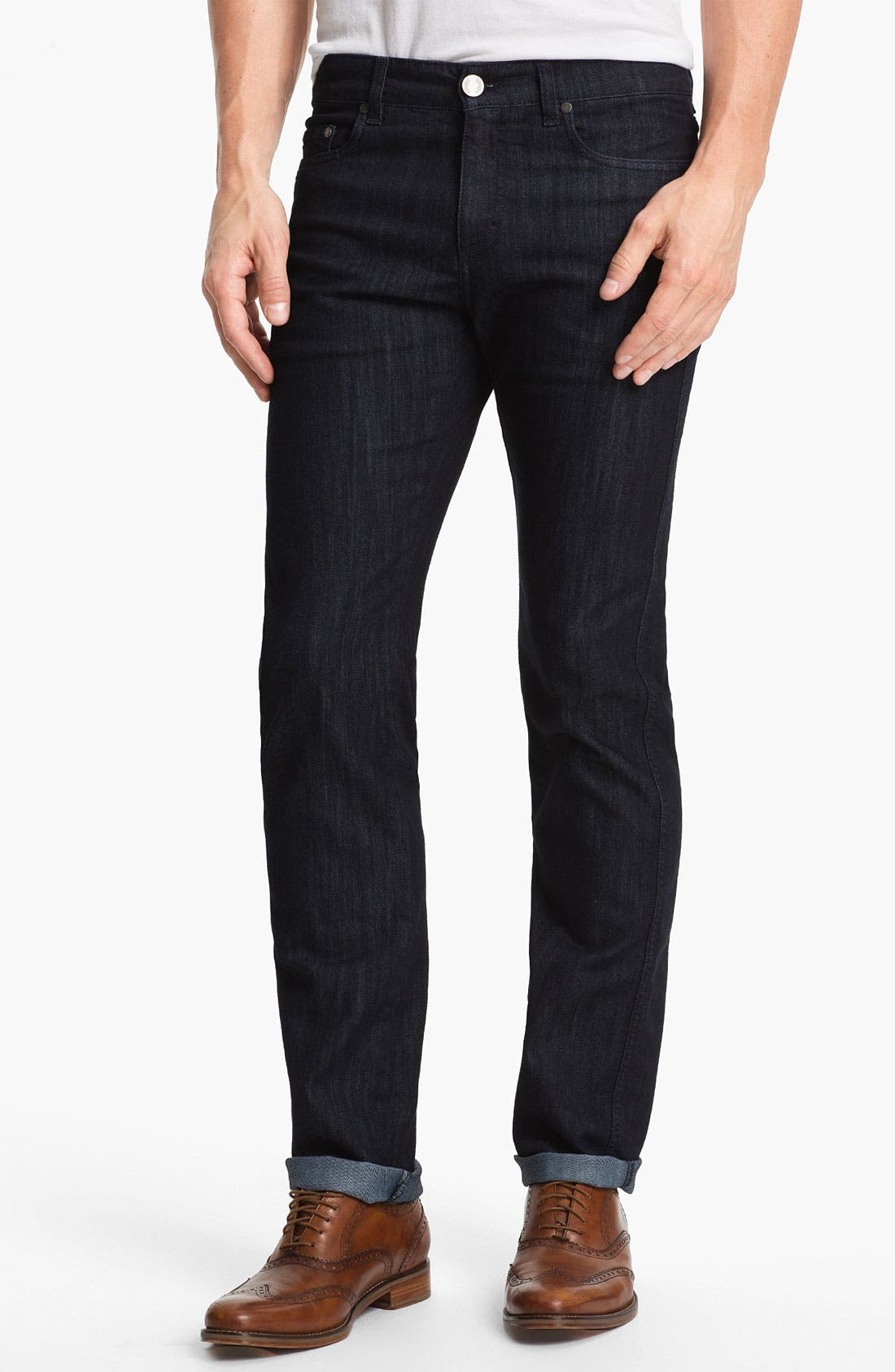 Alternate Image 1 Selected - Z Zegna 'Metalized Effect' Straight Leg Jeans (Navy)