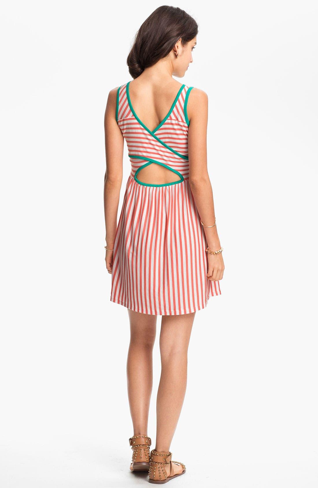 Main Image - JJ Basics Striped Crisscross Back Dress (Juniors)