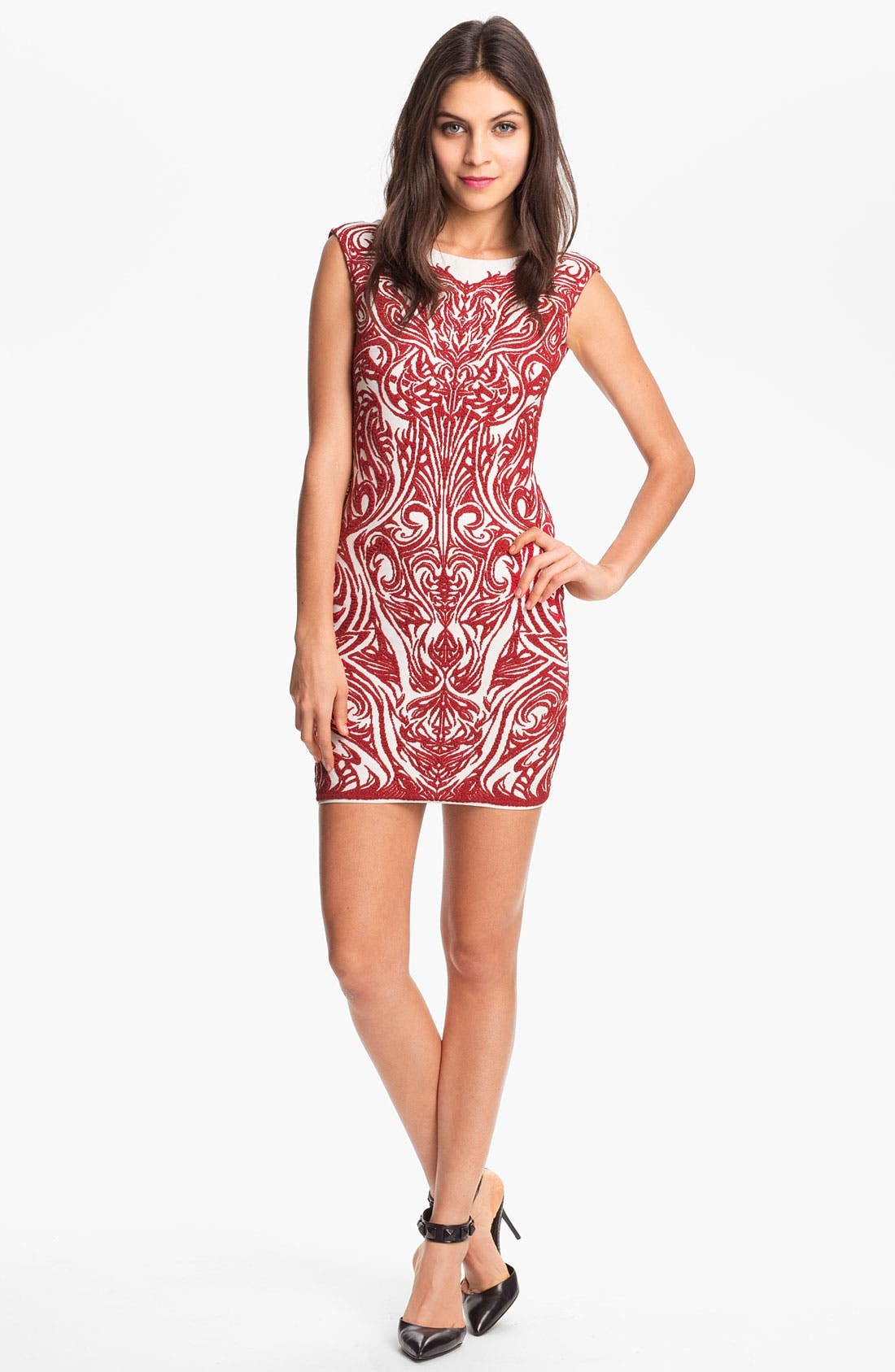 Main Image - RVN 'Phoenix' Embroidered Jacquard Minidress