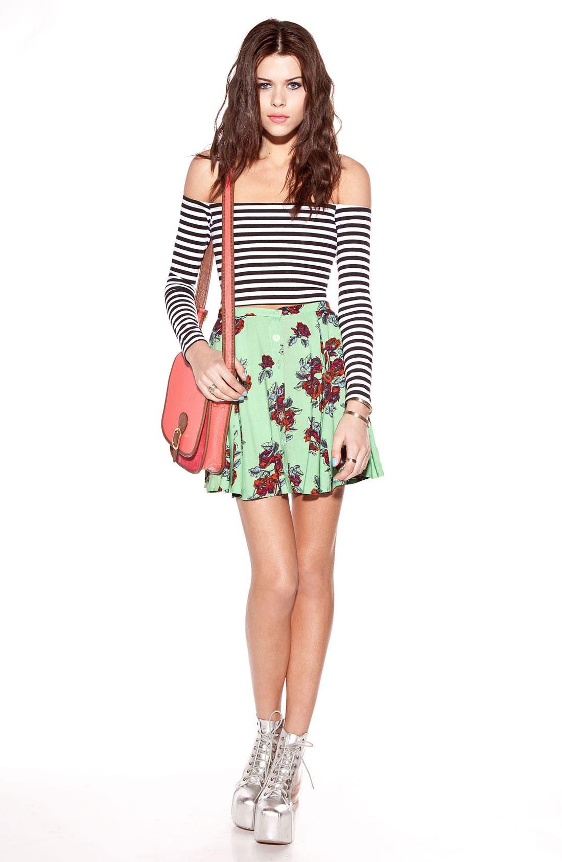 Alternate Image 2  - MINKPINK High Waist Print Skater Skirt