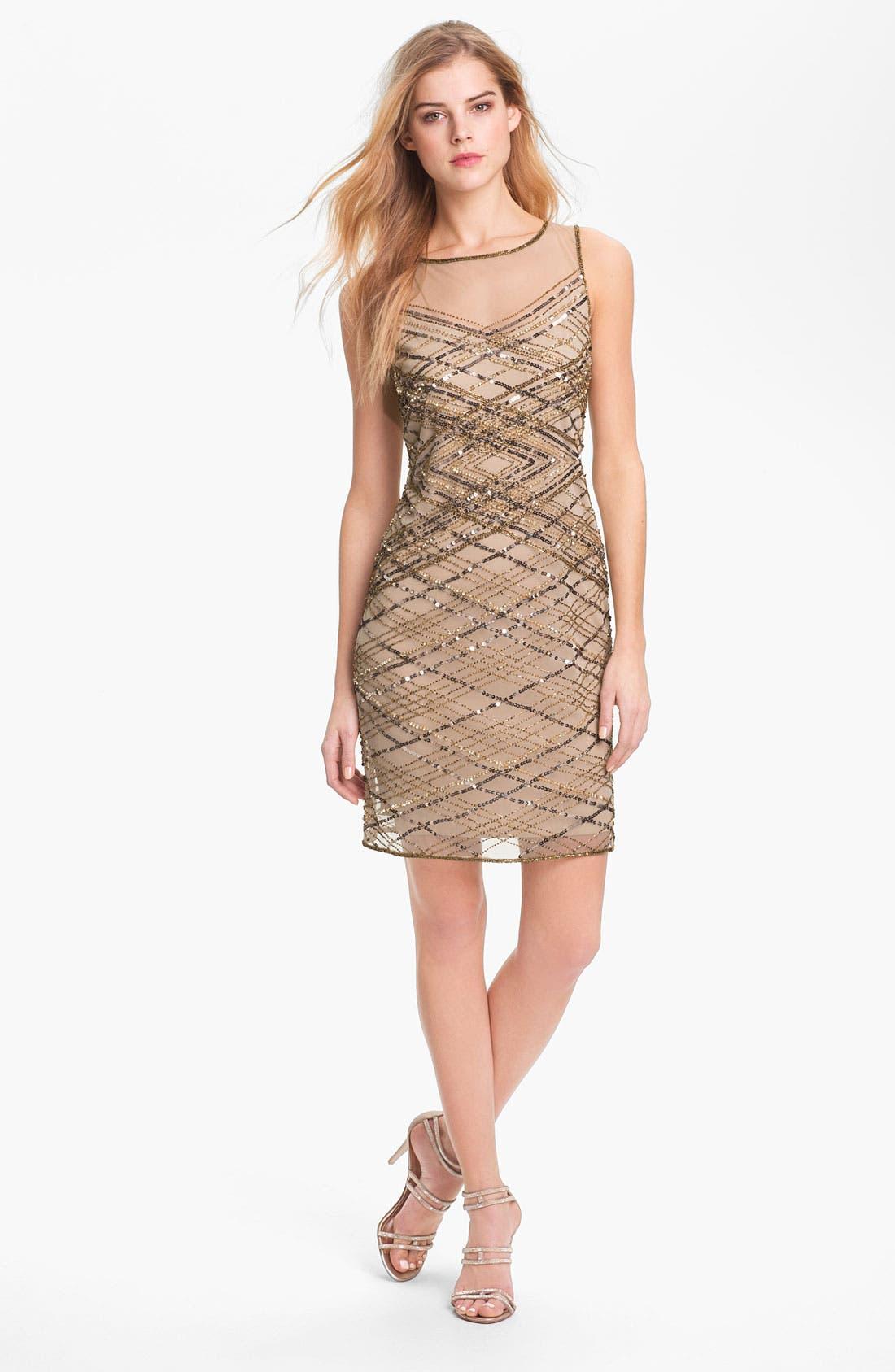Alternate Image 1 Selected - Pisarro Nights Beaded Illusion Yoke Dress
