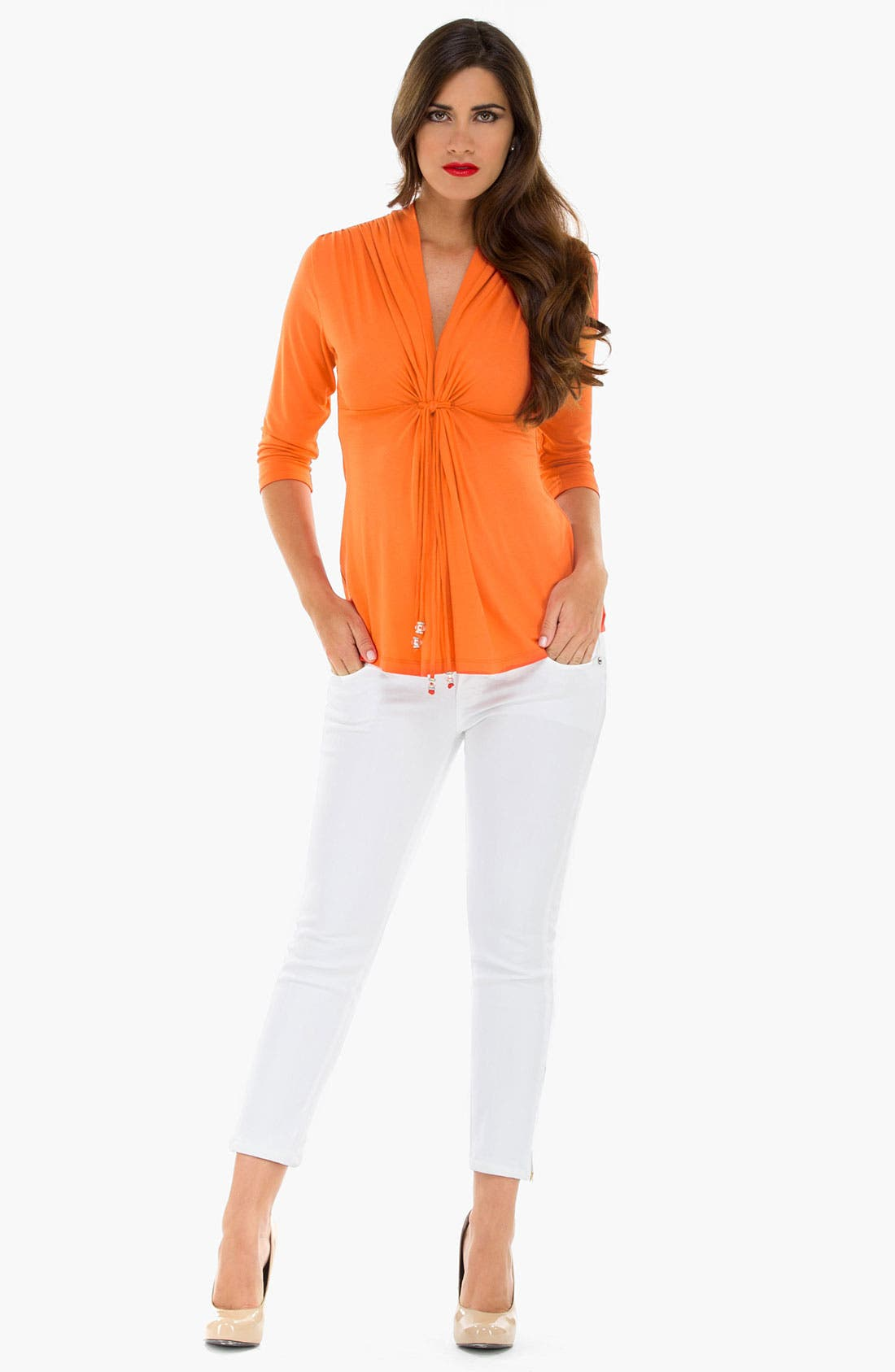 Main Image - Olian Tie Front Maternity Top