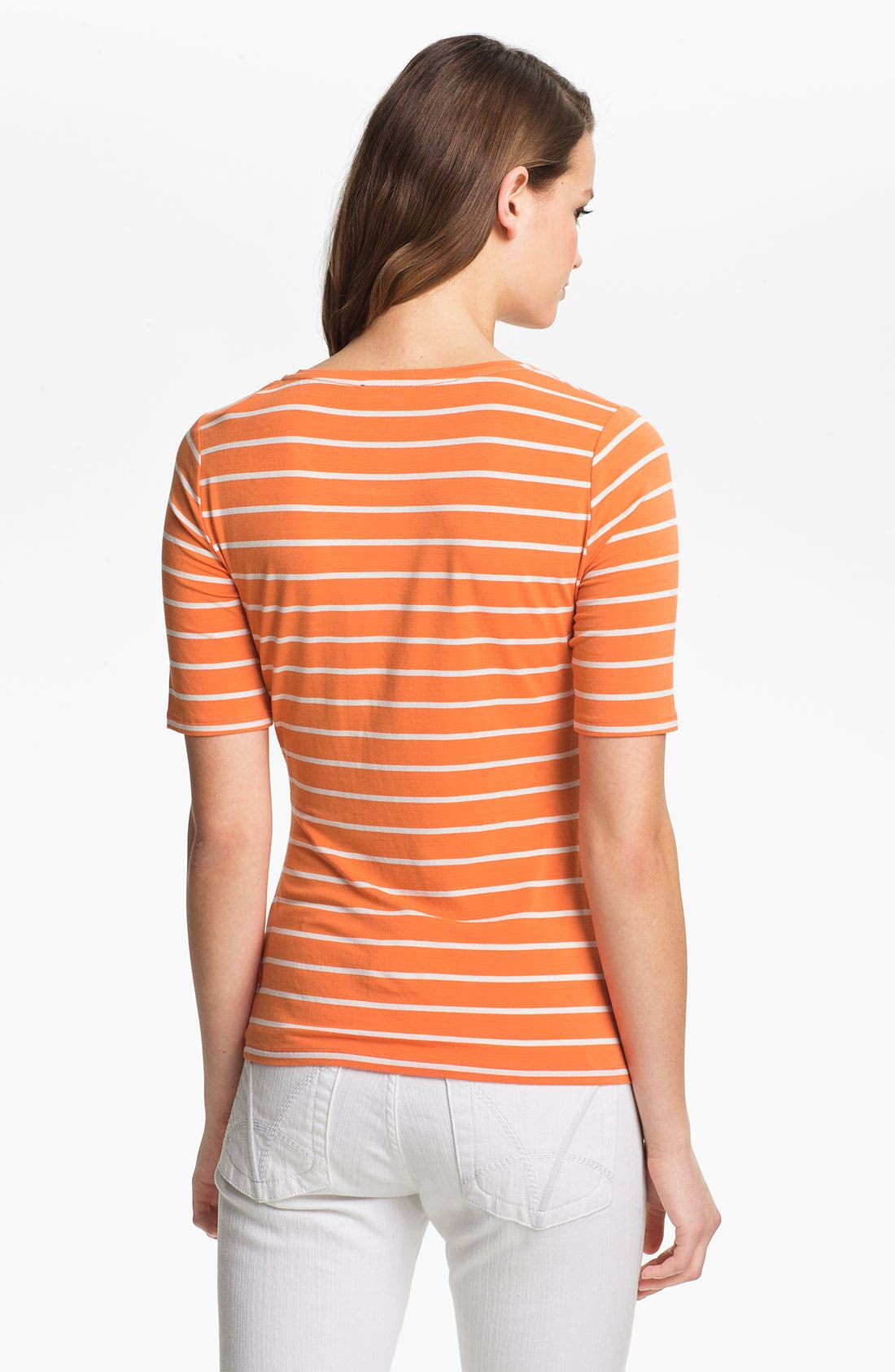 Alternate Image 2  - Vince Camuto Elbow Sleeve Stripe Tee (Petite)