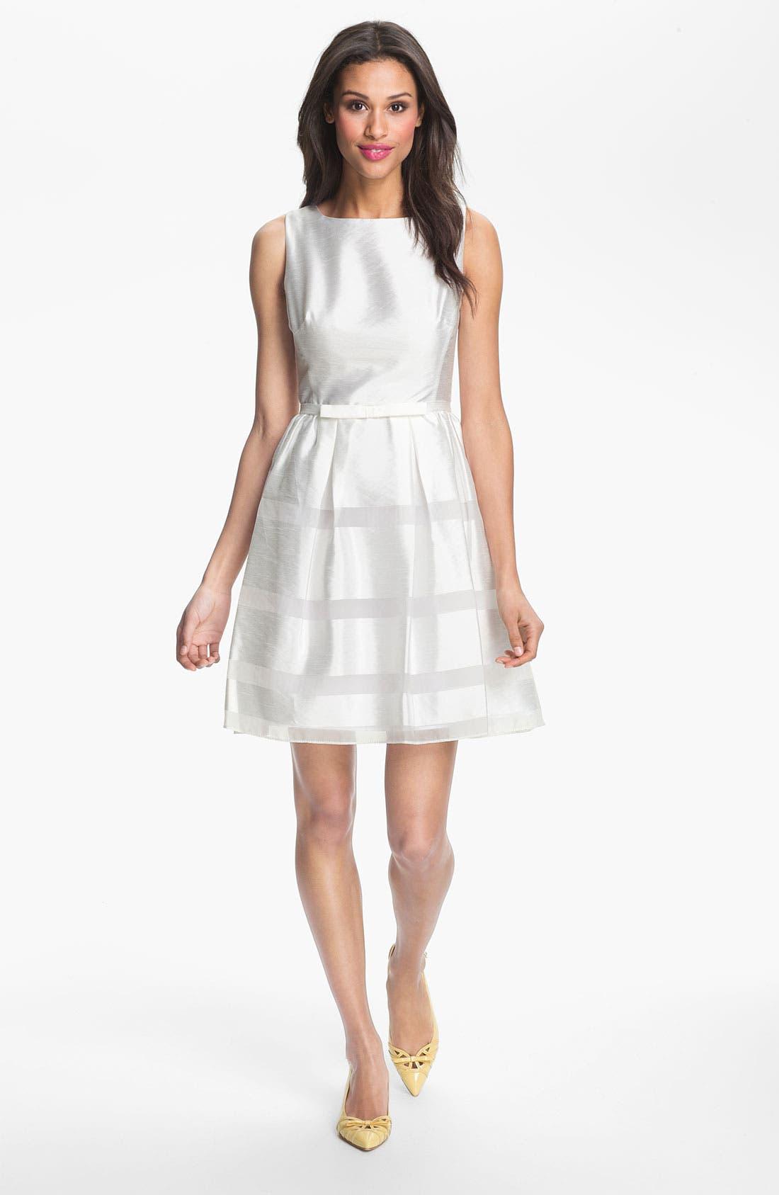 Tonal Stripe Fit & Flare Dress,                         Main,                         color, White