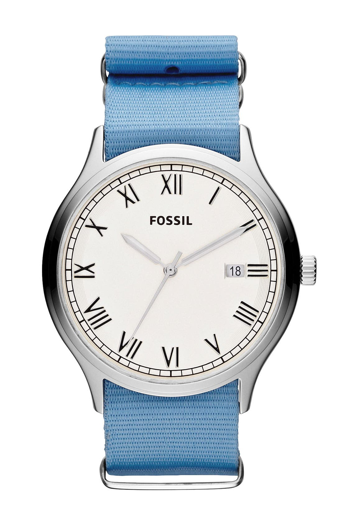 Main Image - Fossil 'Ansel' Nylon Strap Watch, 41mm