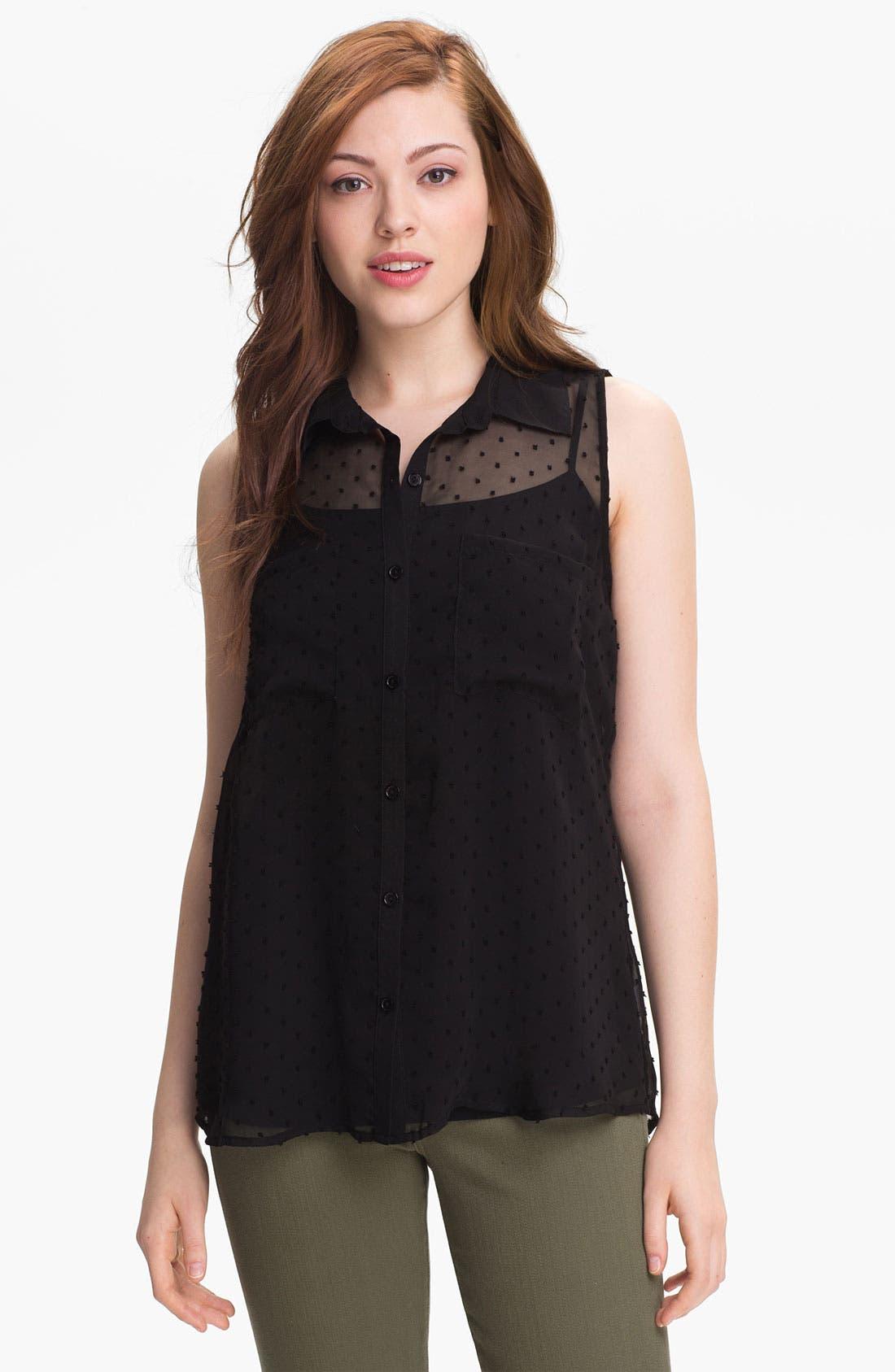 Main Image - MOD.lusive Sleeveless Swiss Dot Shirt