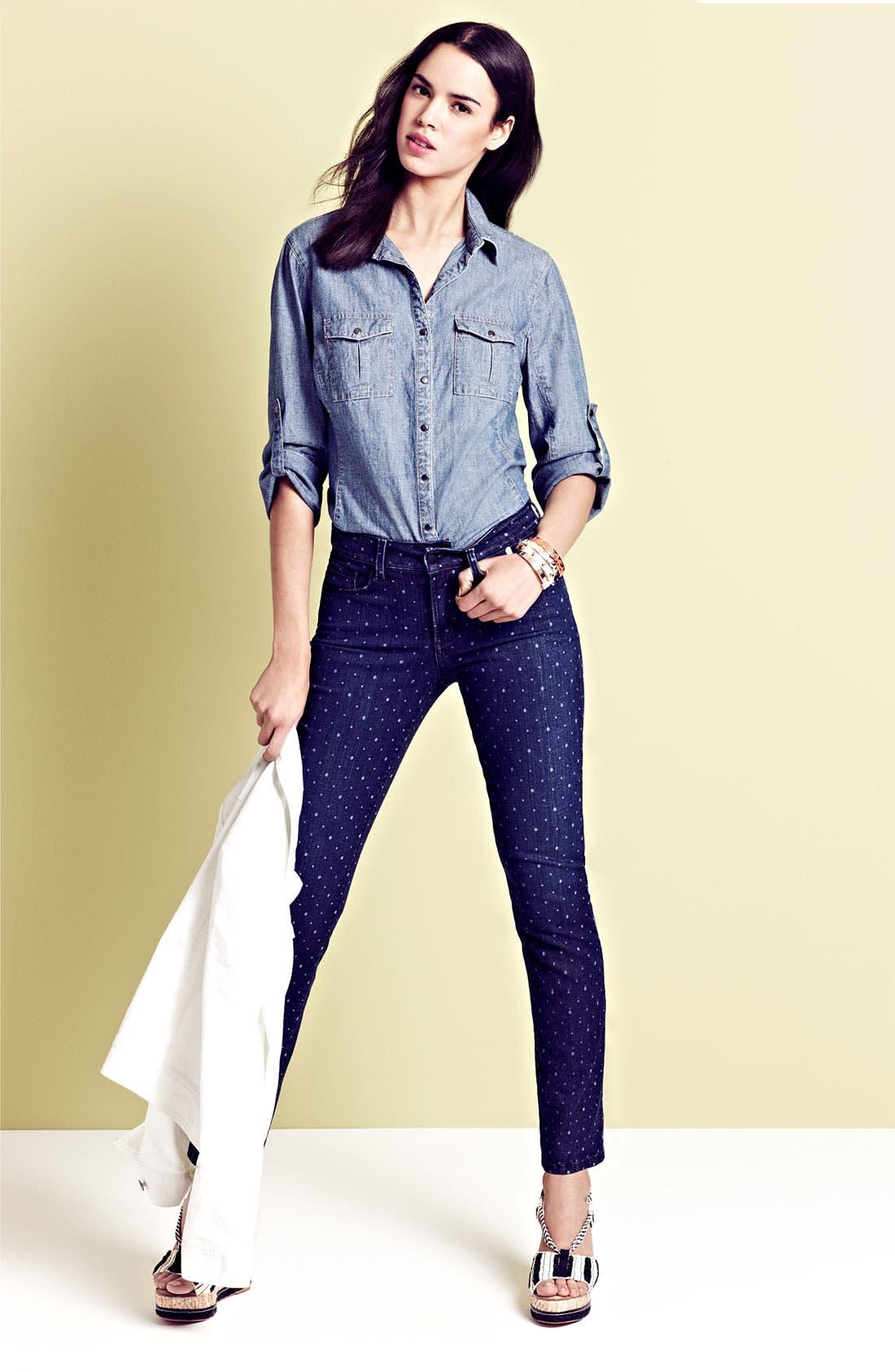 Alternate Image 4  - NYDJ 'Sheri' Dot Print Skinny Ankle Jeans