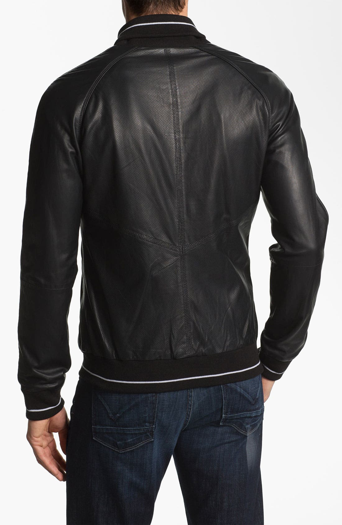 Alternate Image 2  - La Marque Leather Baseball Jacket