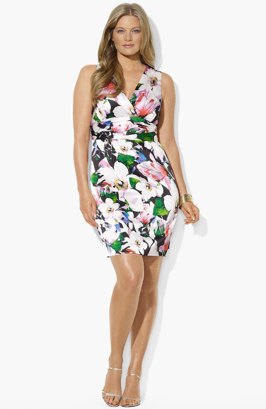 Main Image - Lauren Ralph Lauren Floral Print Sheath Dress (Plus Size) (Online Only)