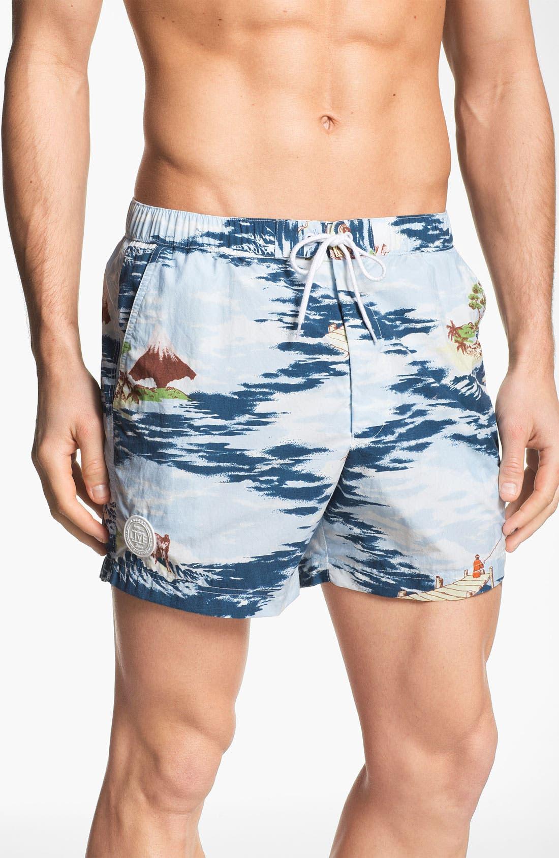 Main Image - Lacoste L!VE Print Swim Trunks