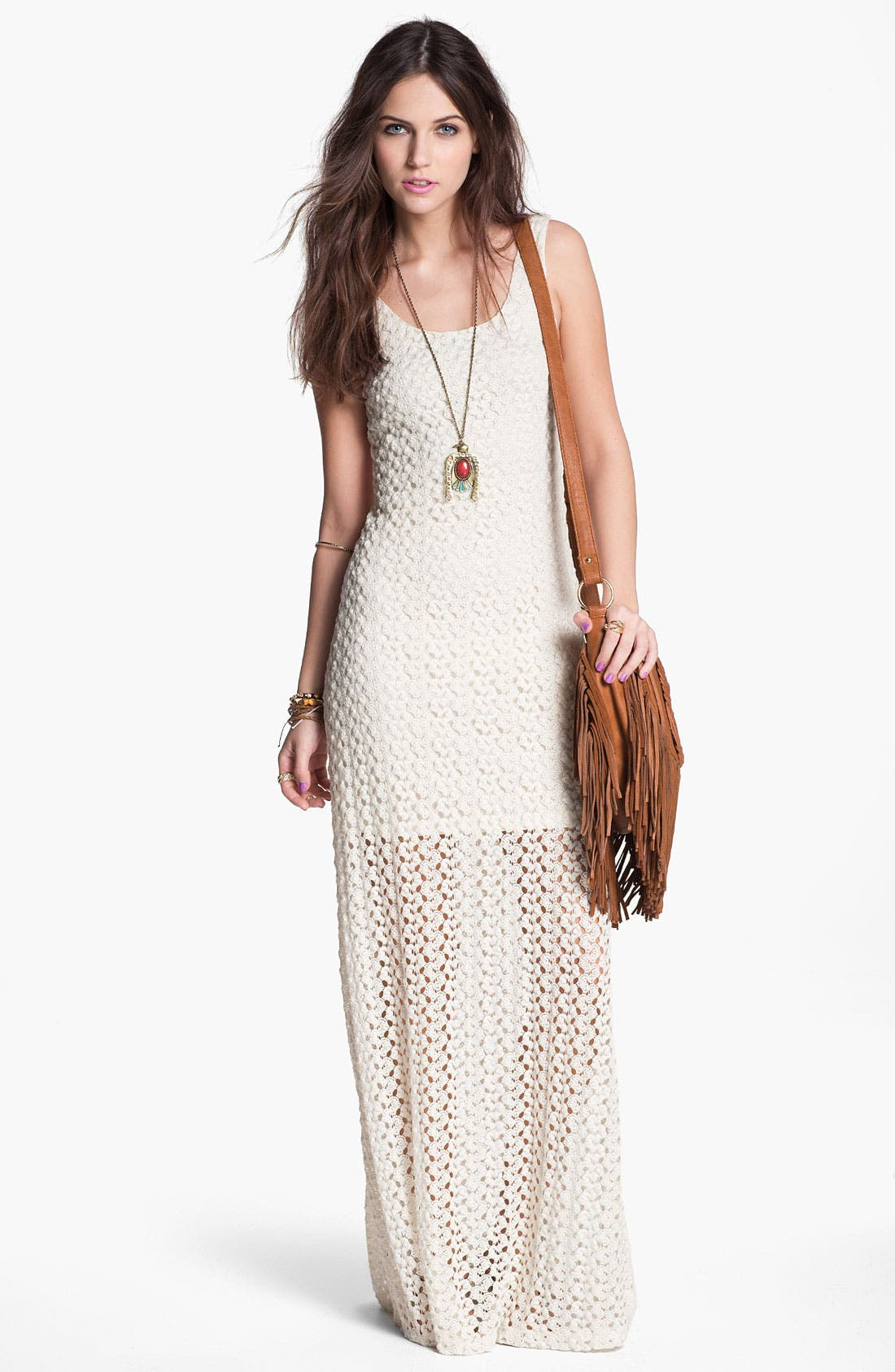 Alternate Image 1 Selected - Mimi Chica Half Sheer Crochet Maxi Dress (Juniors)
