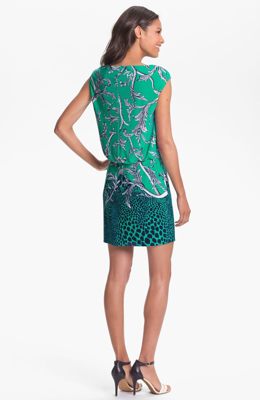 Alternate Image 2  - Laundry by Shelli Segal Mix Print Jersey Blouson Dress