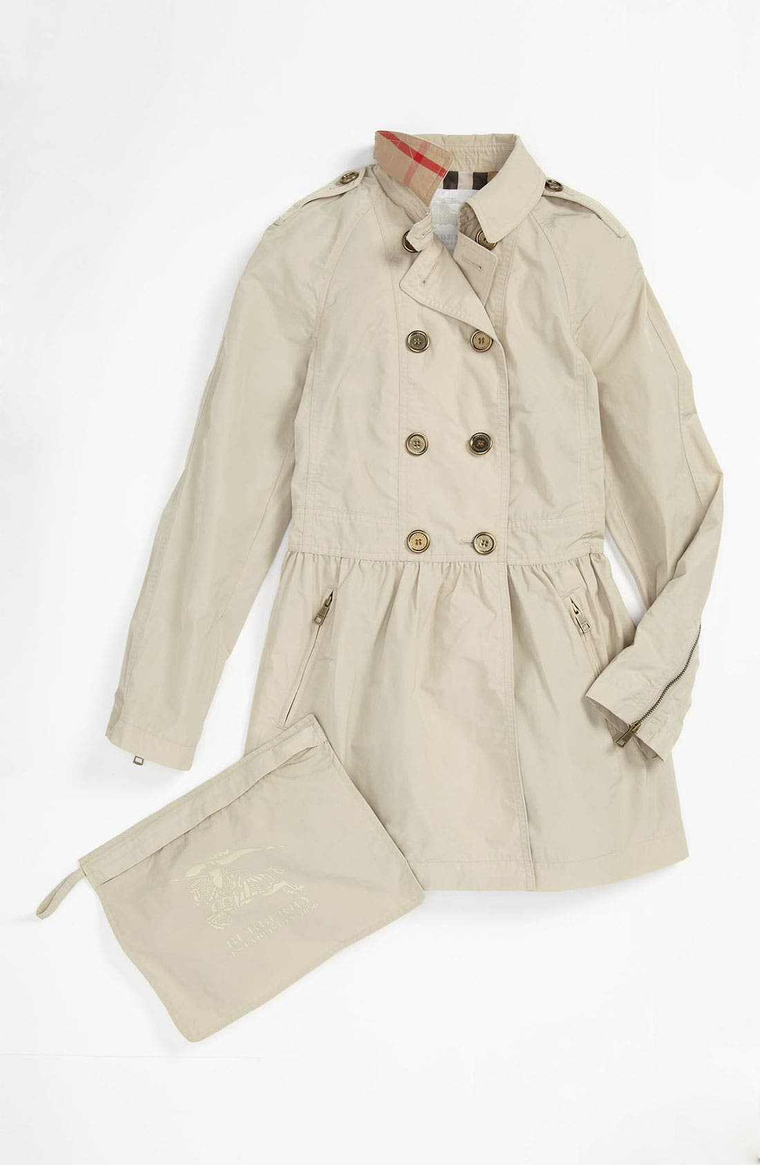 Alternate Image 1 Selected - Burberry 'Mini Mantlebury' Double Breasted Trench Coat (Little Girls & Big Girls)