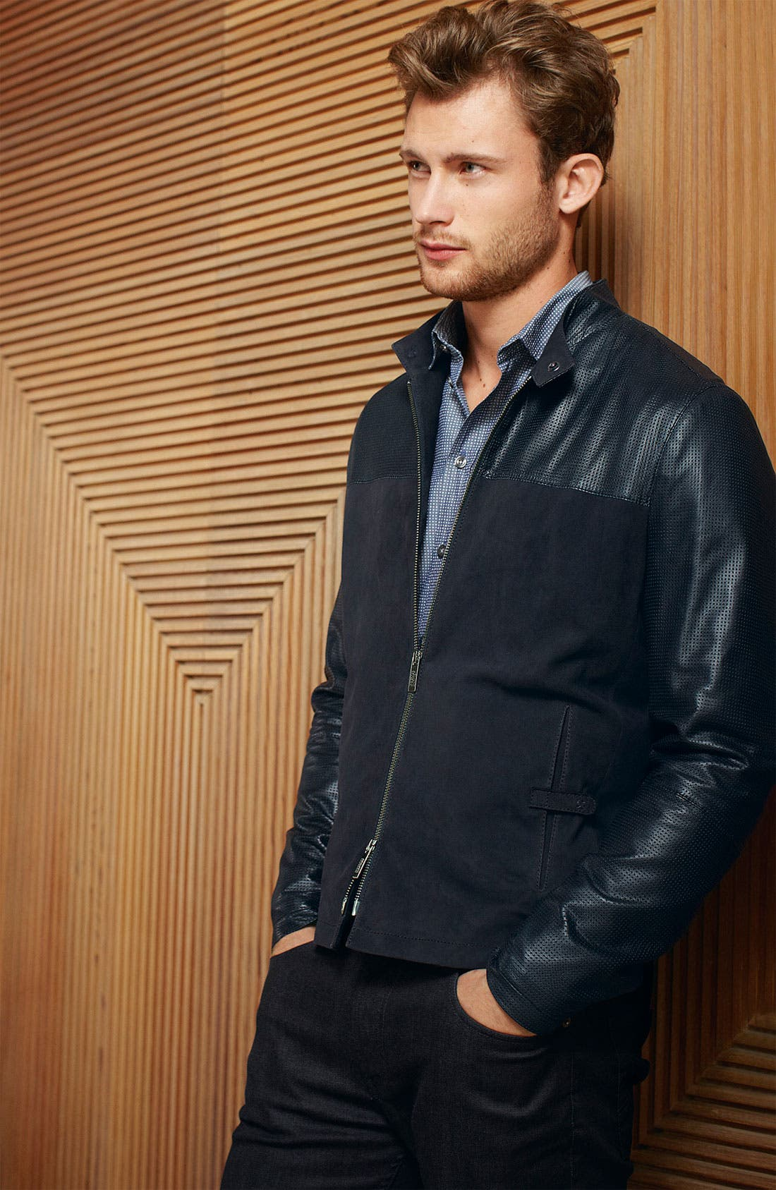 Alternate Image 4  - Armani Collezioni Perforated Lambskin Leather Jacket