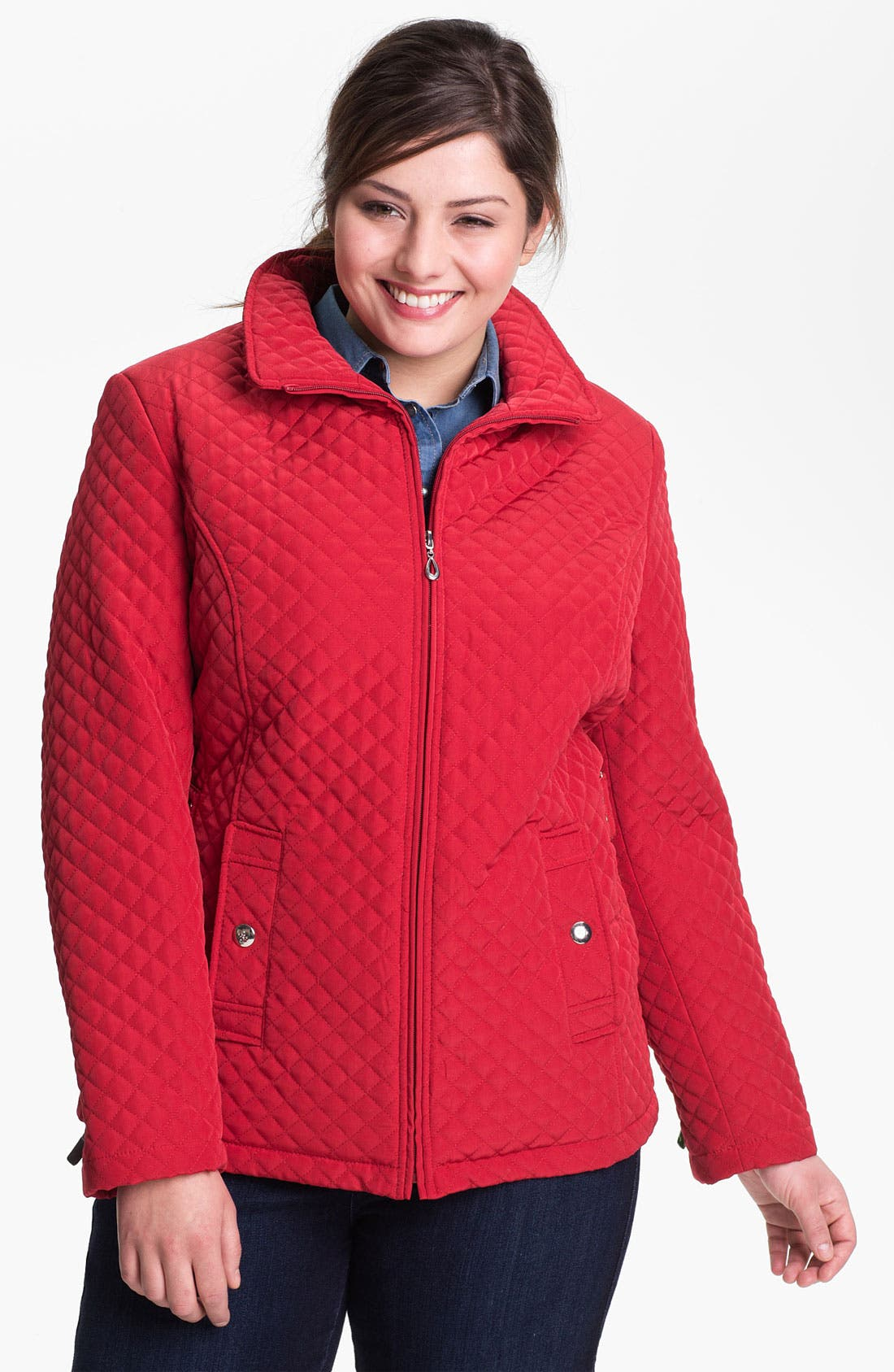 Alternate Image 1 Selected - Gallery Zip Front Quilted Jacket (Plus Size)