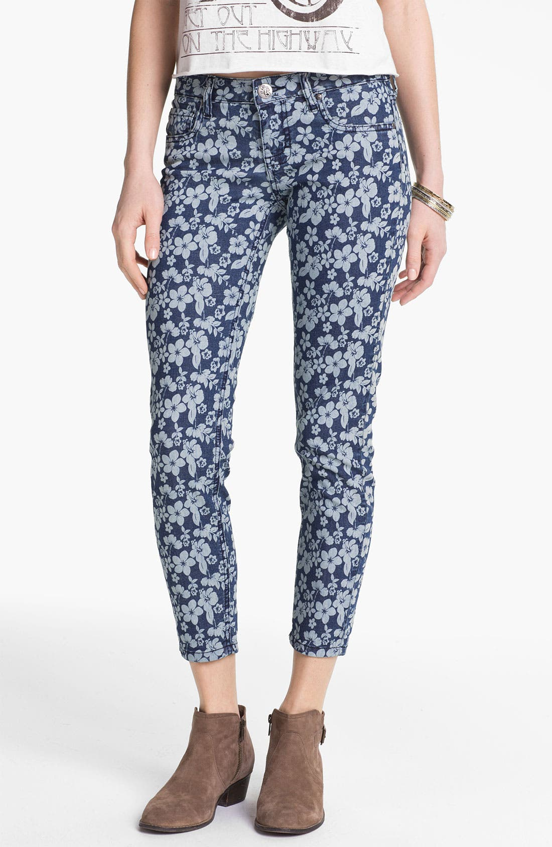 Main Image - STS Blue Floral Print Crop Skinny Jeans (Juniors)