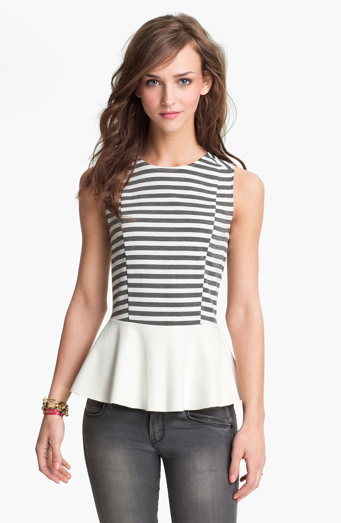 Main Image - Lily White Faux Leather Peplum Tank (Juniors)