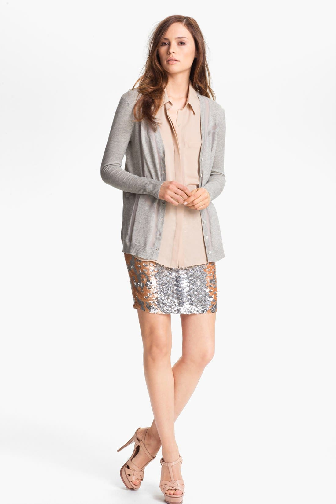 Alternate Image 1 Selected - Haute Hippie Sheer Inset Cashmere Cardigan