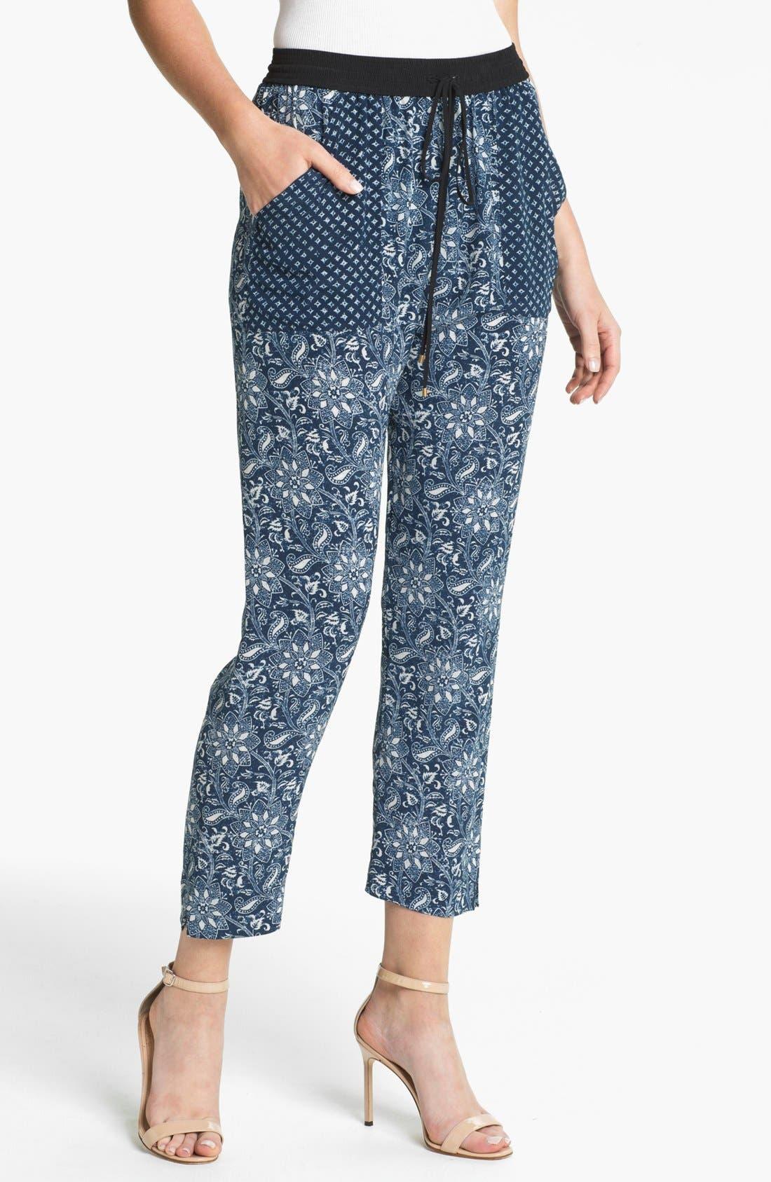 Alternate Image 1 Selected - Rebecca Taylor 'Star' Crop Silk Pants