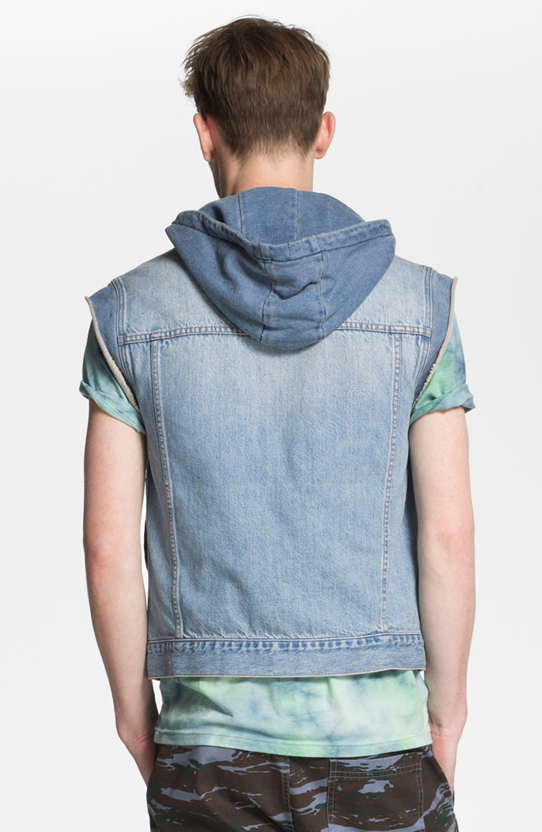 Alternate Image 2  - Topman Hooded Denim Vest