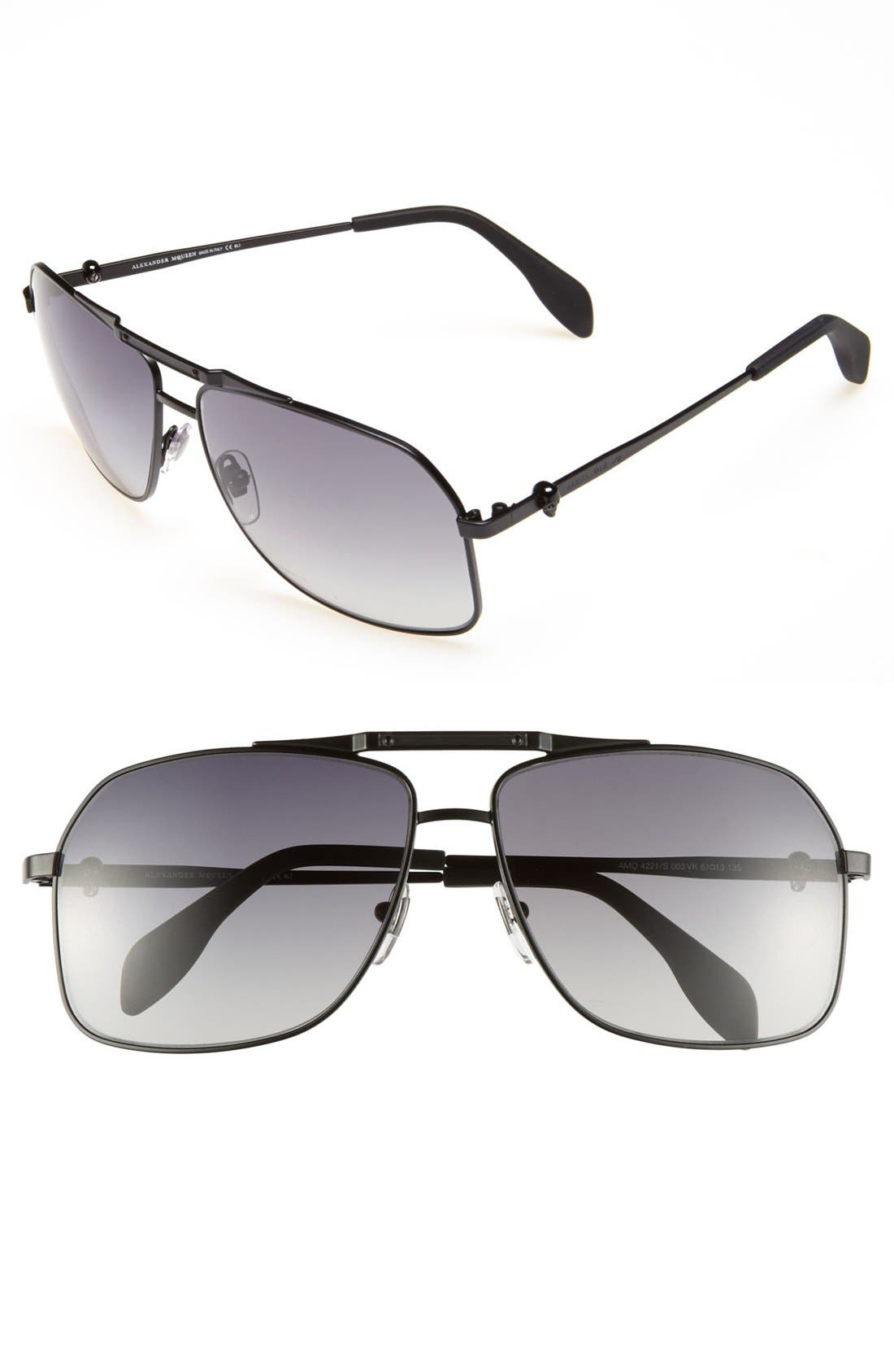 Main Image - Alexander McQueen 61mm Aviator Sunglasses (Online Only)