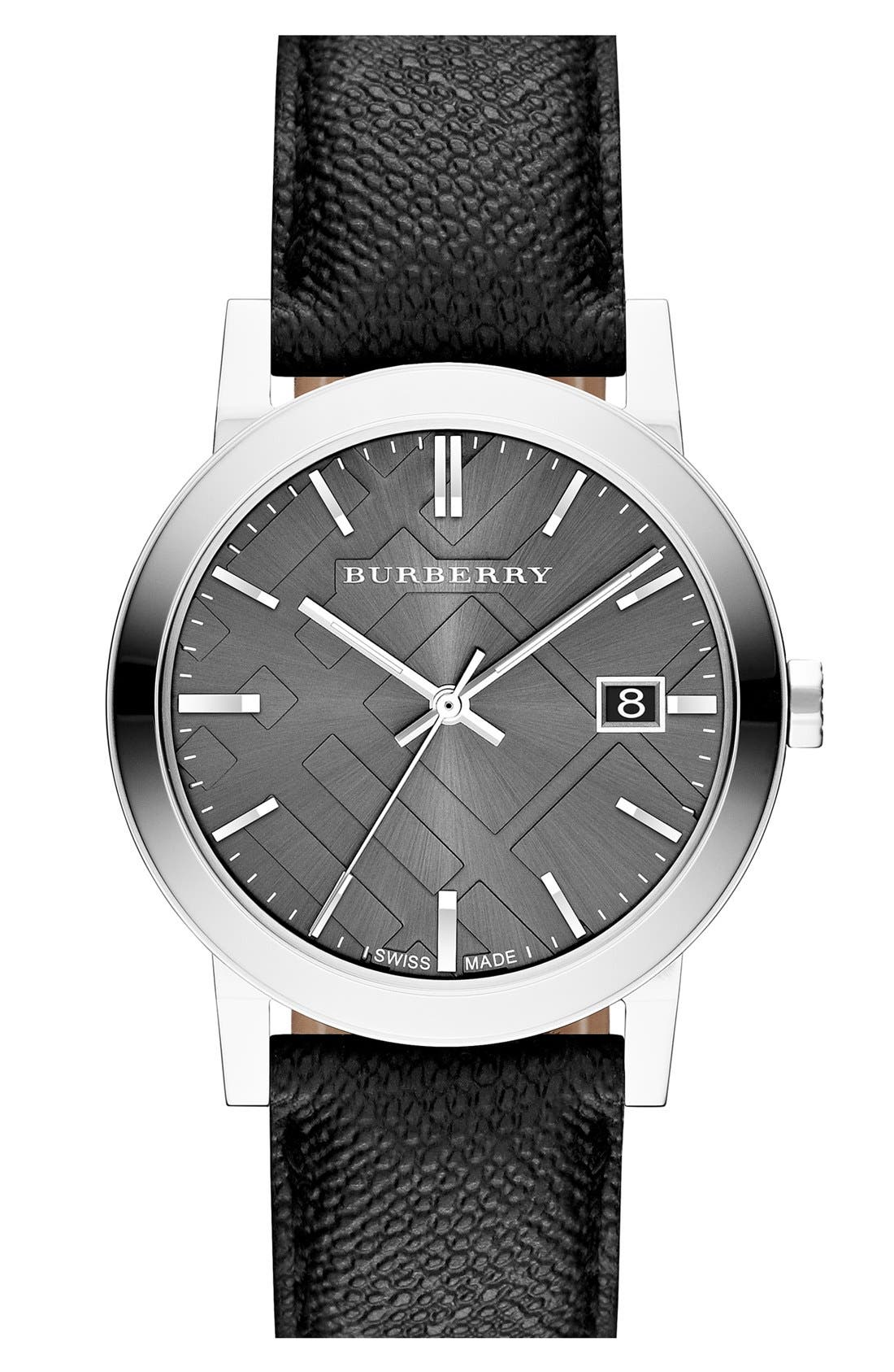 Alternate Image 1 Selected - Burberry Check Stamped Round Dial Watch, 38mm