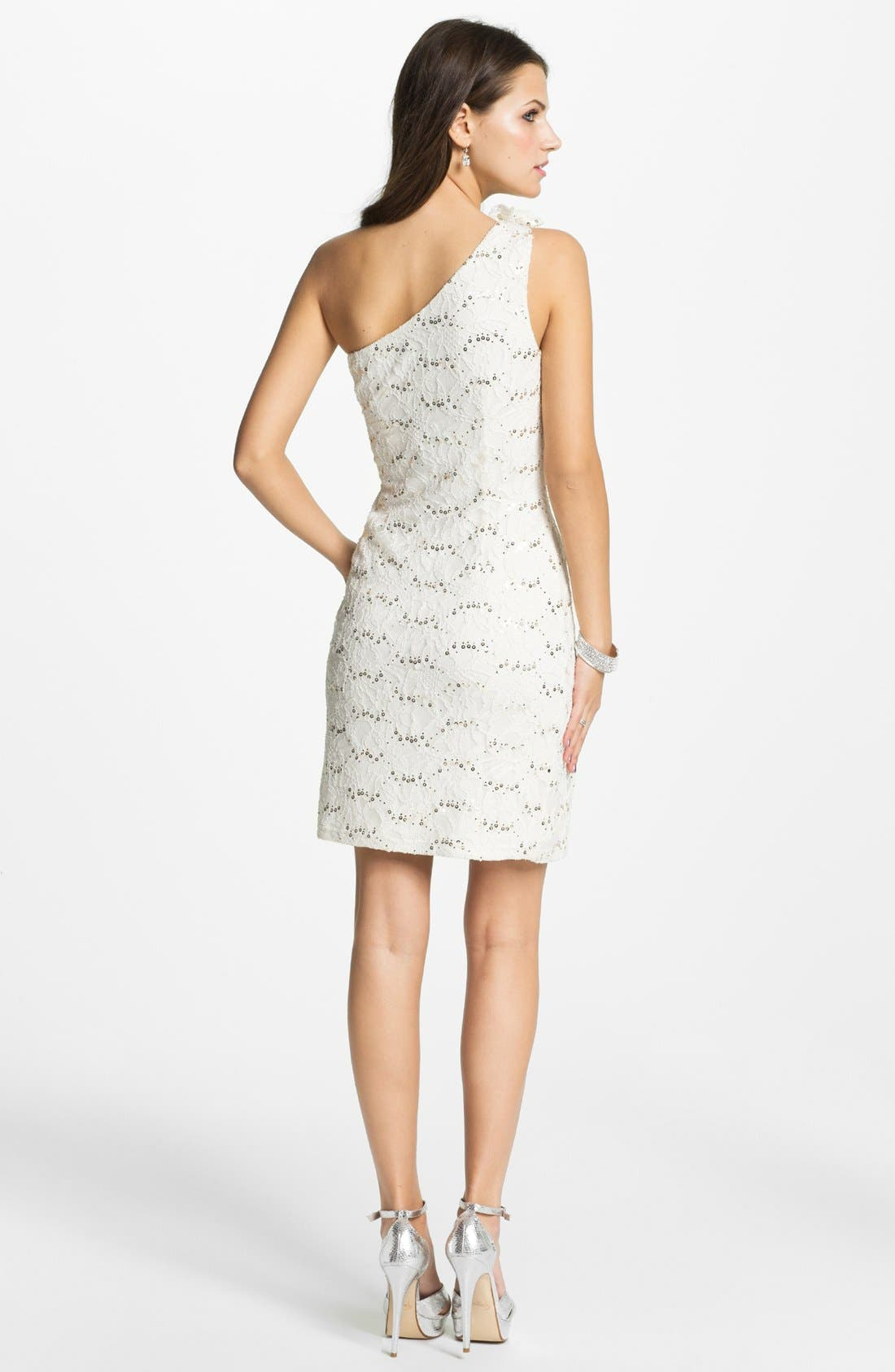 Alternate Image 2  - Hailey by Adrianna Papell Embellished One Shoulder Lace Dress (Online Only)