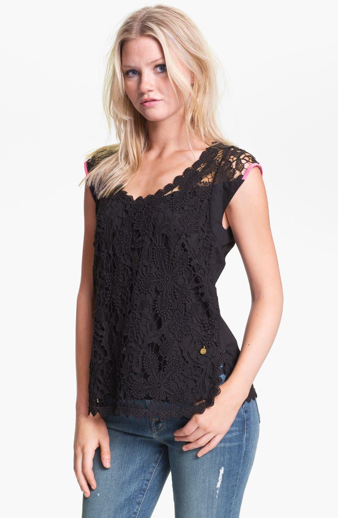 Crochet Top,                         Main,                         color, Black